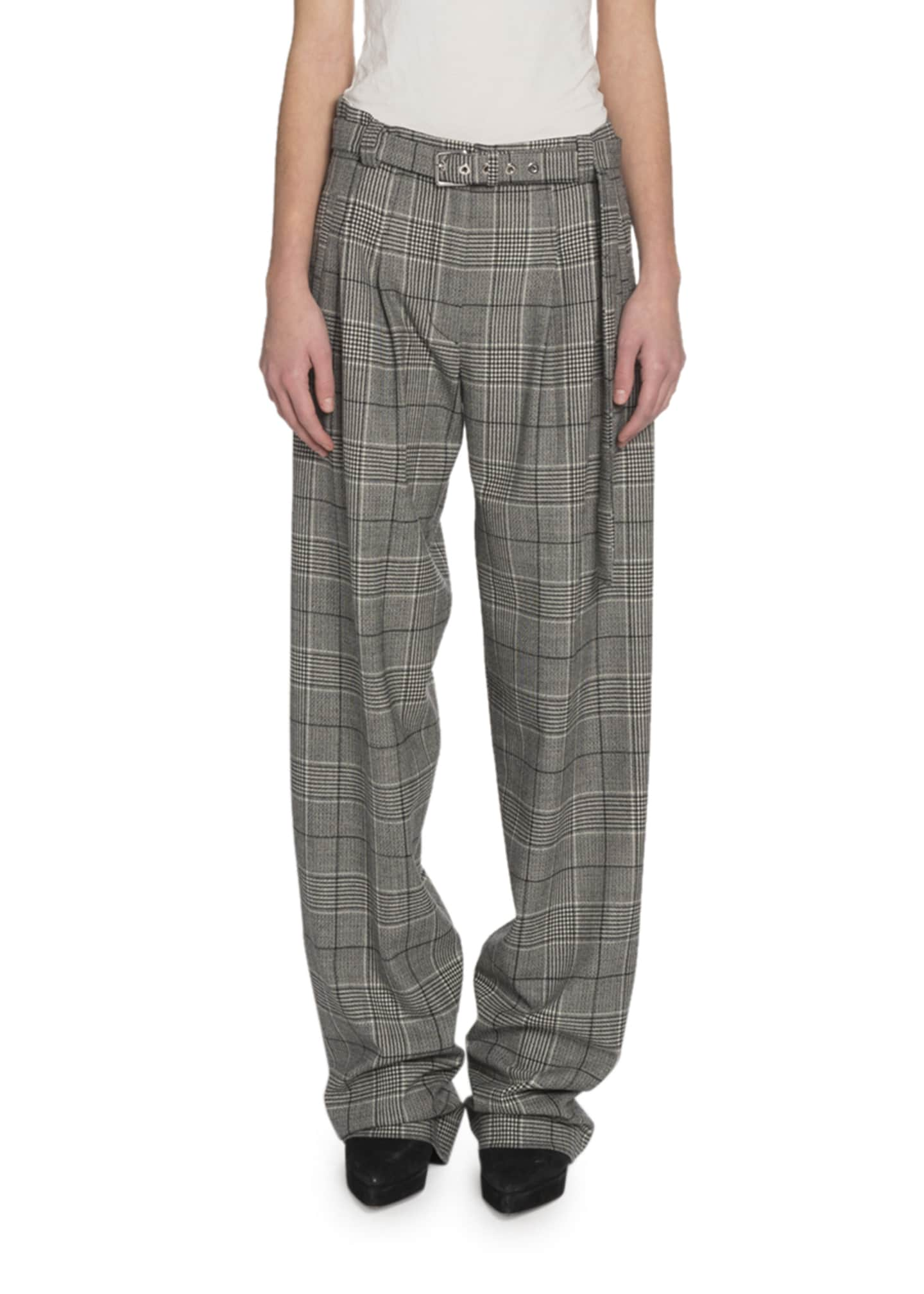 Proenza Schouler Glen-Plaid Exaggerated-Leg Pants