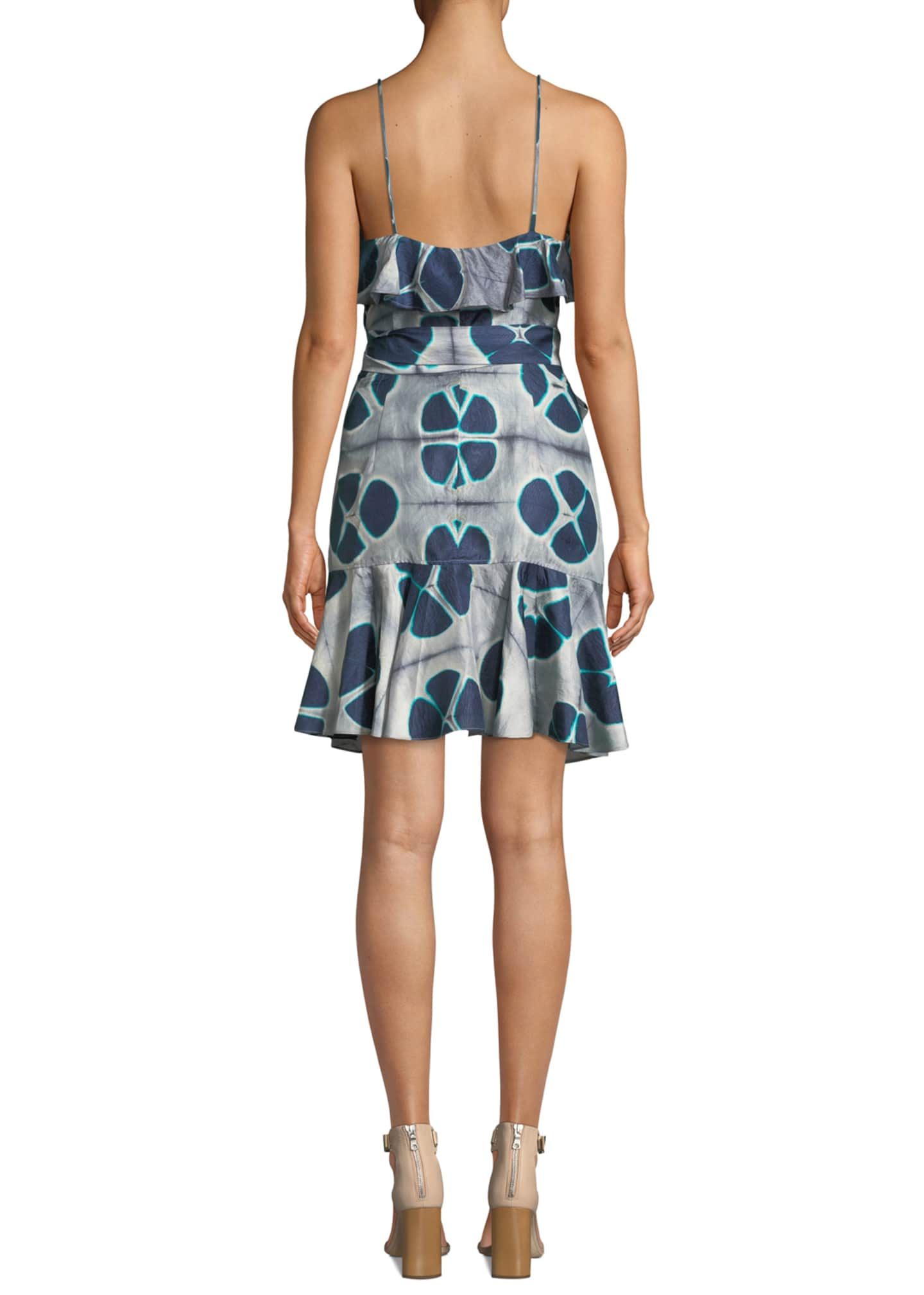 Image 2 of 3: Kalani Silk Patterned Flounce Self-Tie Dress