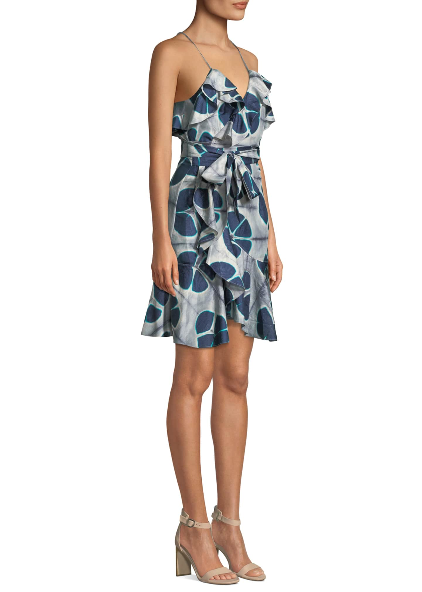 Image 3 of 3: Kalani Silk Patterned Flounce Self-Tie Dress