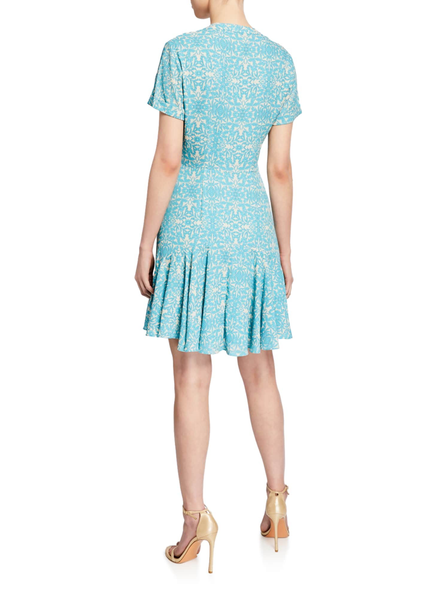 Image 2 of 2: Delia Printed Button-Down Short Dress