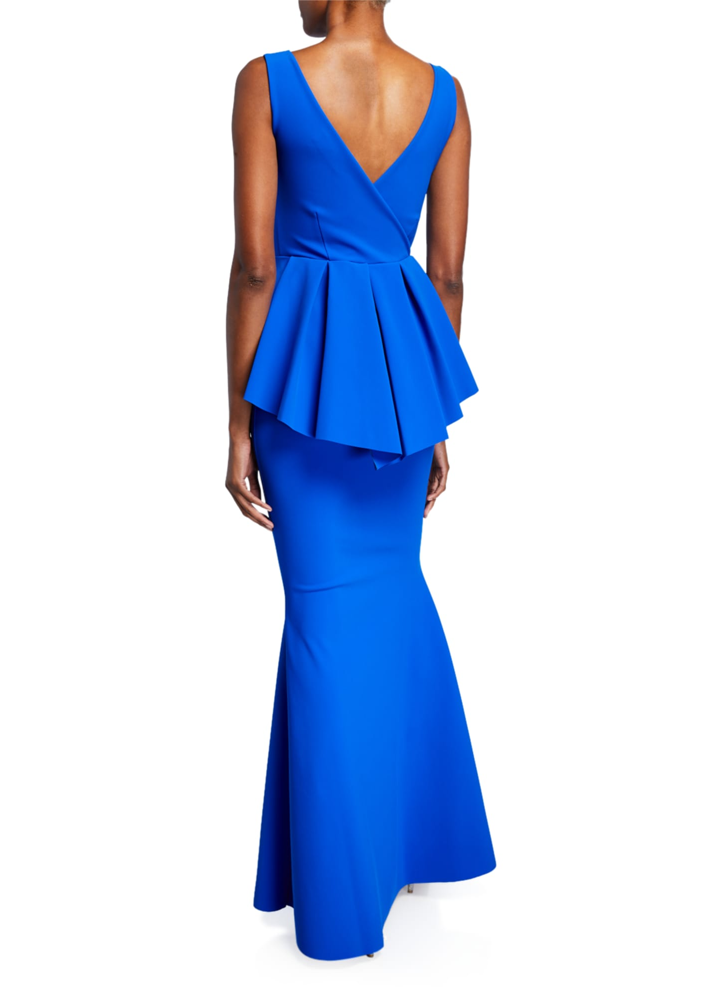 Image 2 of 2: Rowan Sleeveless Peplum-Waist Mermaid Gown
