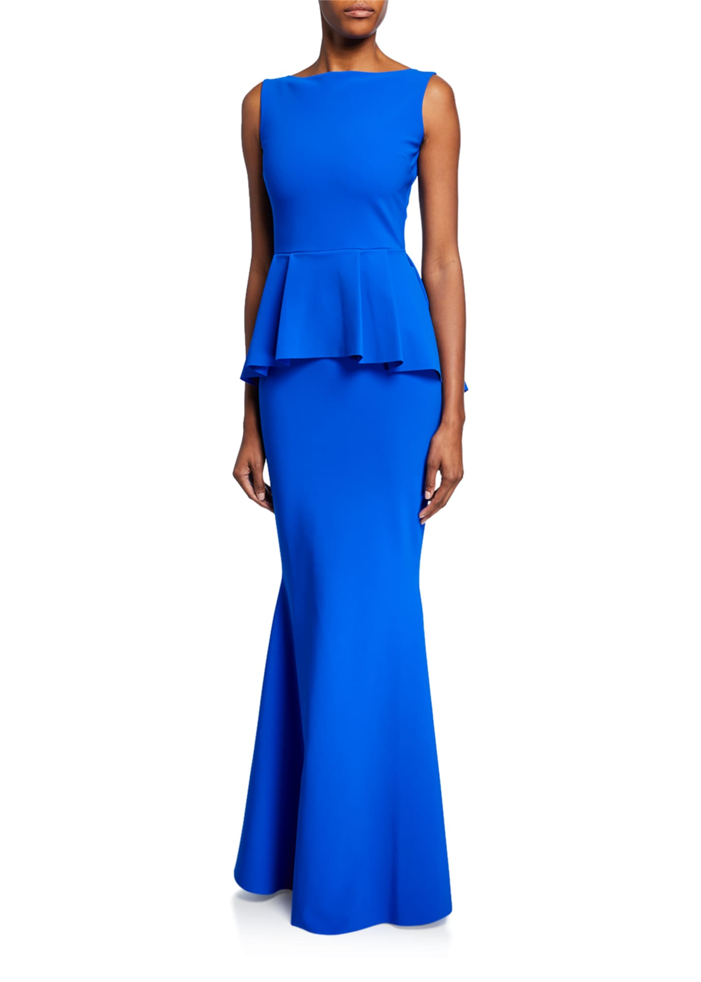 Image 1 of 2: Rowan Sleeveless Peplum-Waist Mermaid Gown