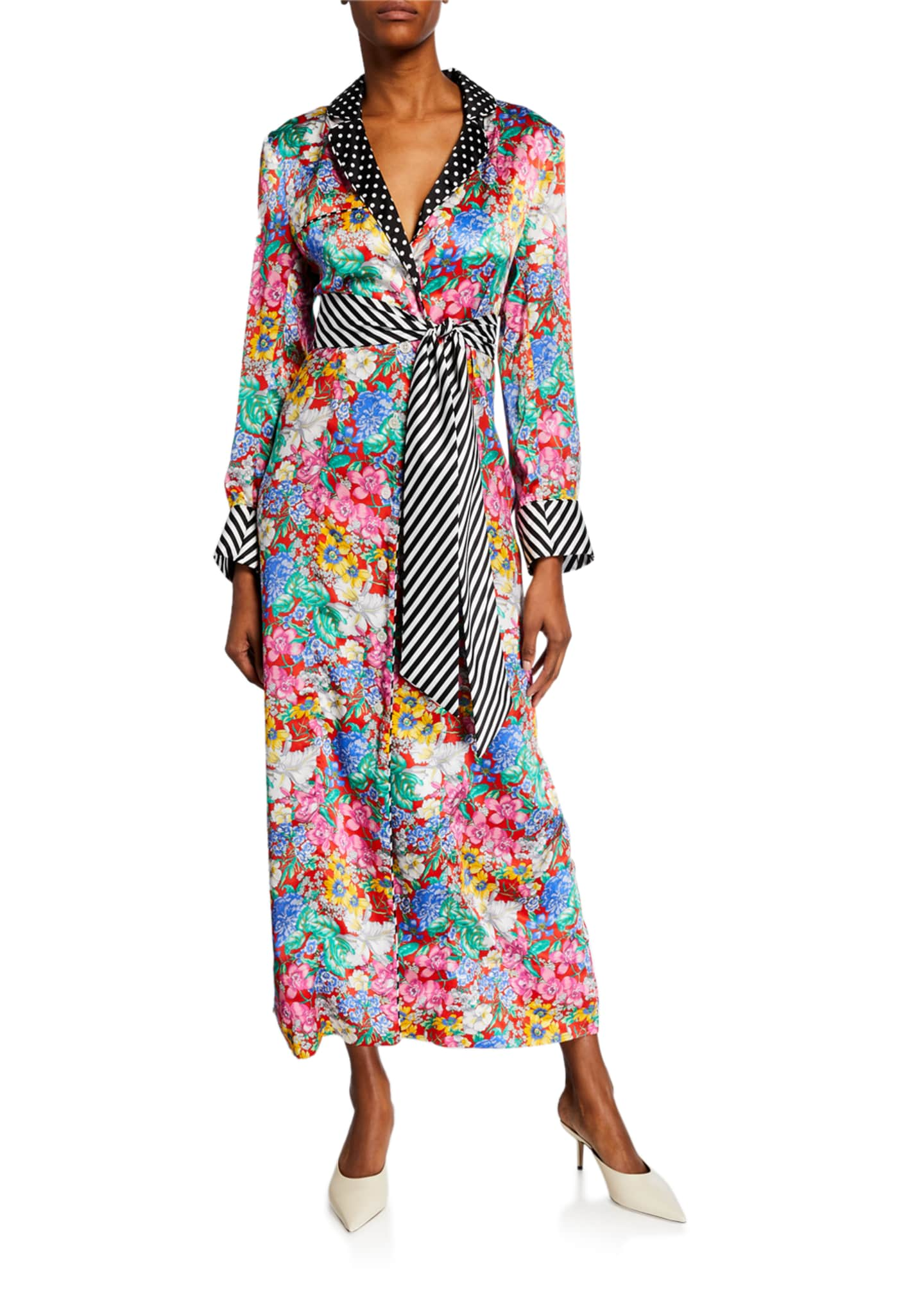 Aquazzura x Racil Polka-Dot Trim Floral Robe Jacket