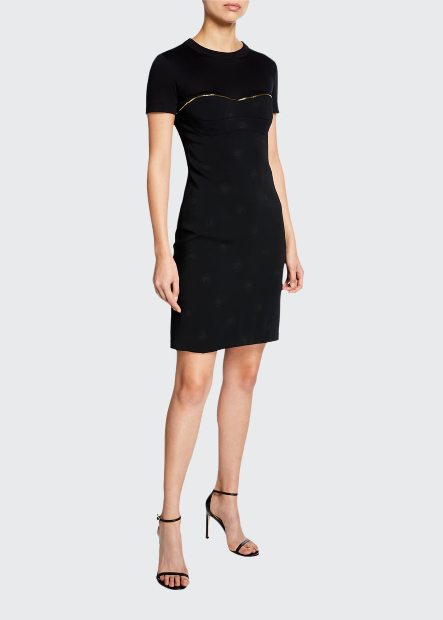 Brandon Maxwell Short-Sleeve Silk Cocktail Dress w/ Golden
