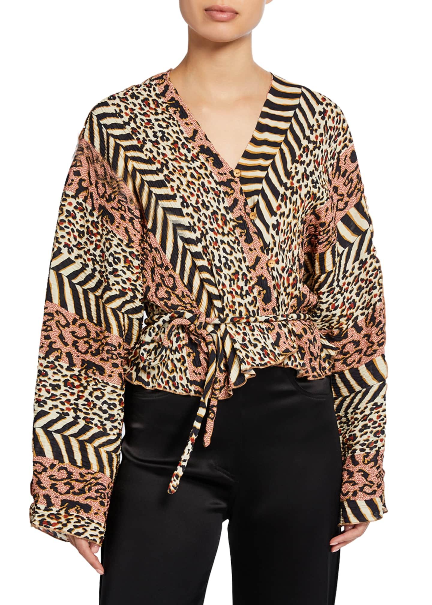 Nanushka Ehara Button-Front Kimono Top