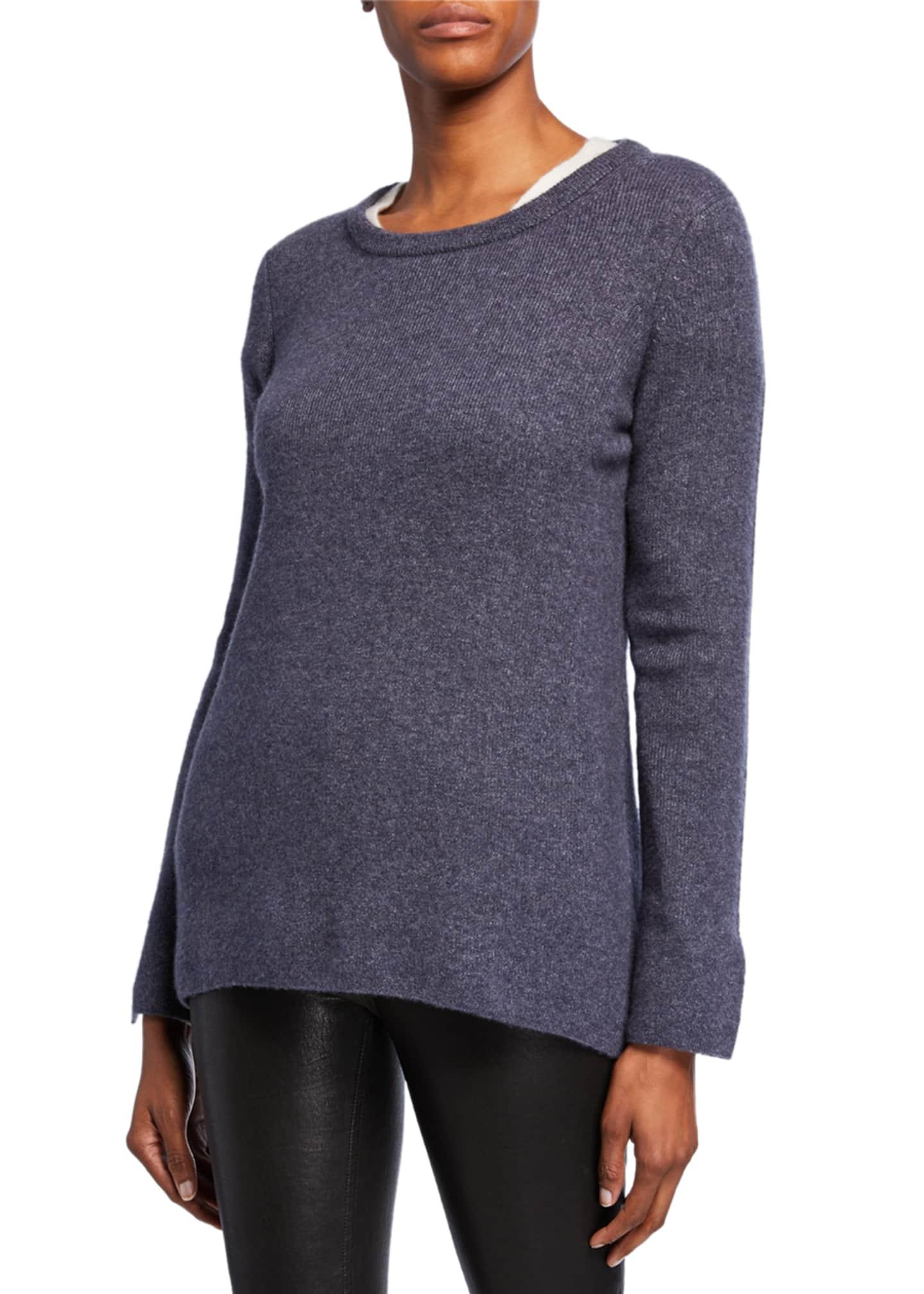 Iris Von Arnim Tamara Crewneck Long-Sleeve Cashmere/Silk Top