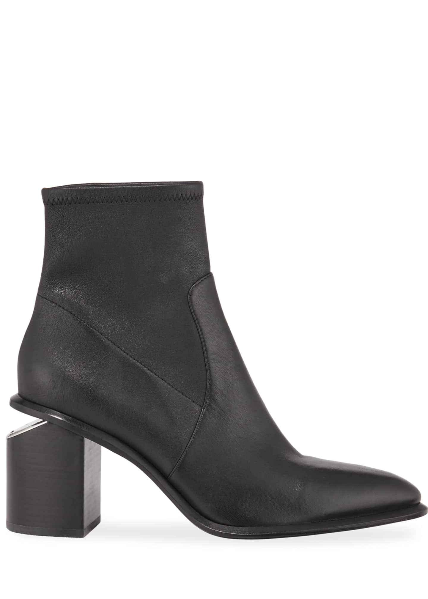 Image 2 of 3: Anna Leather Block-Heel Stretch Booties