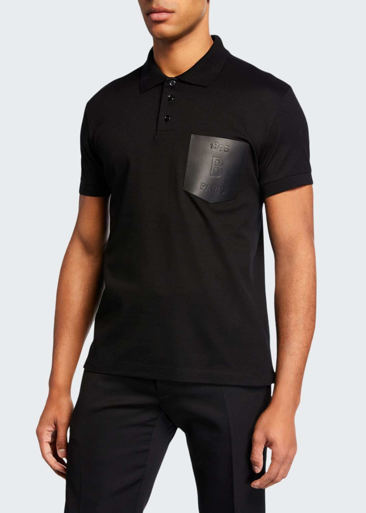 Berluti Men's Leather-Trim Polo Shirt