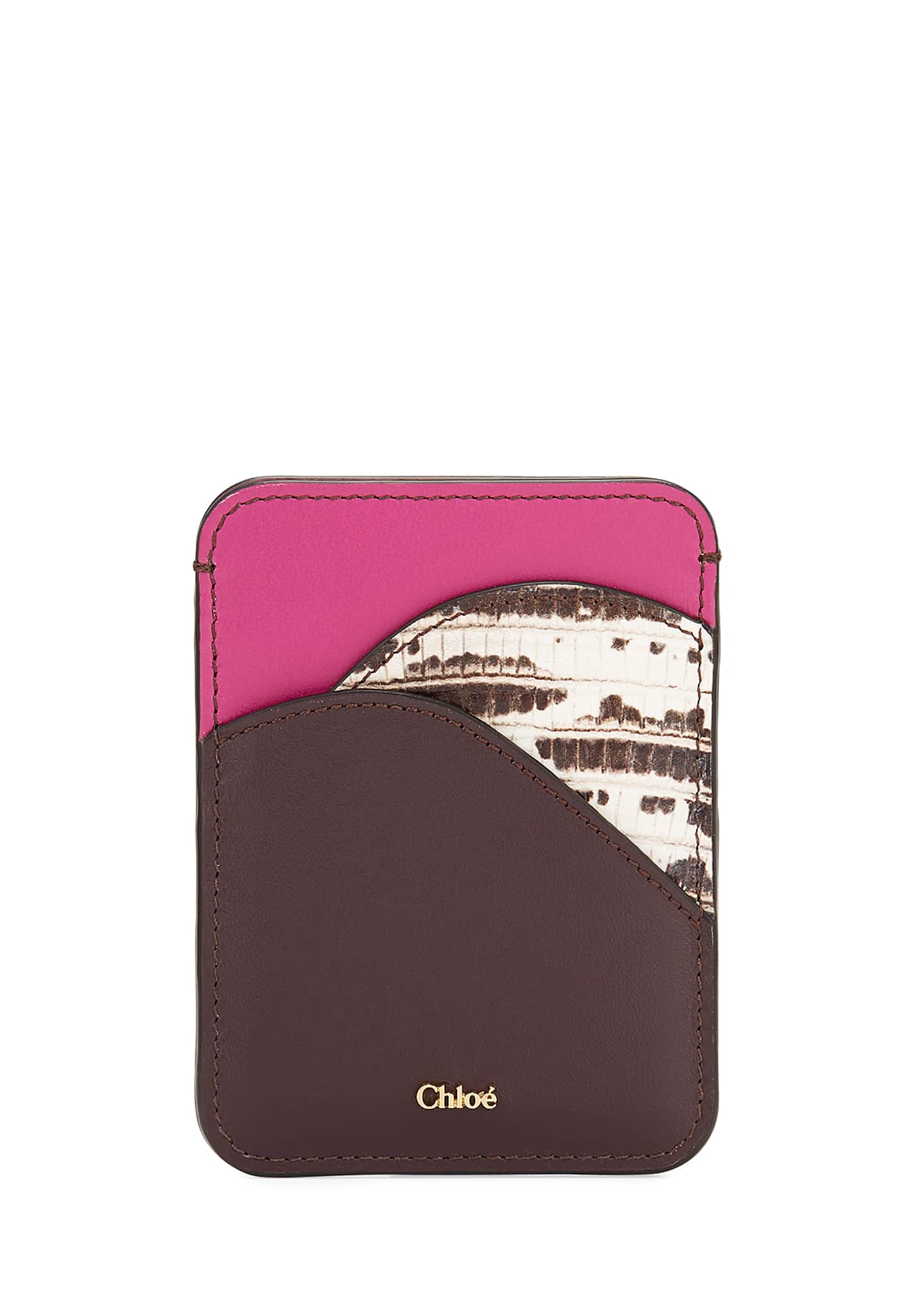 Chloe Walden Smooth and Lizard-Embossed Card Holder