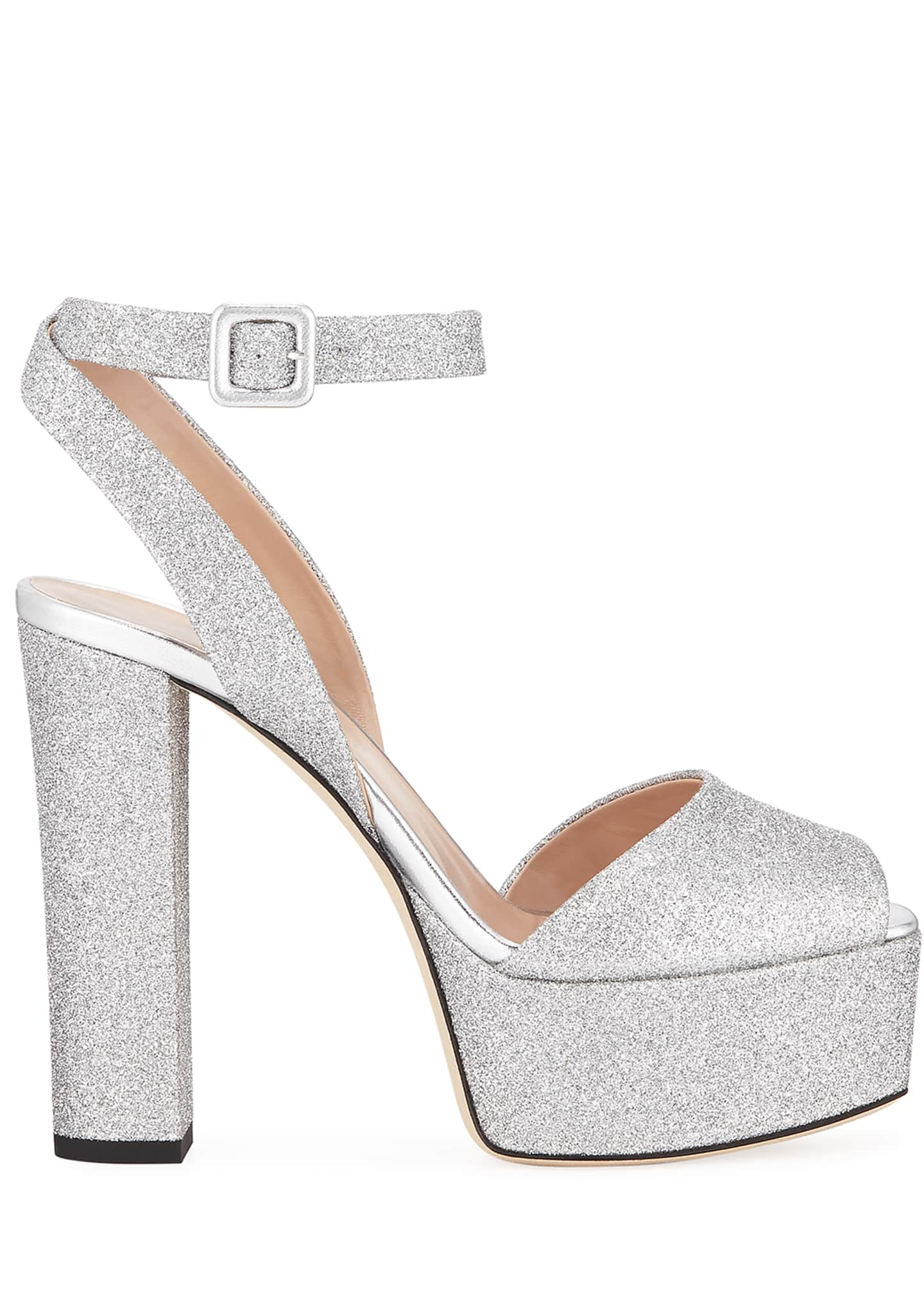 Image 2 of 3: Glittered Ankle-Strap Platform Sandals