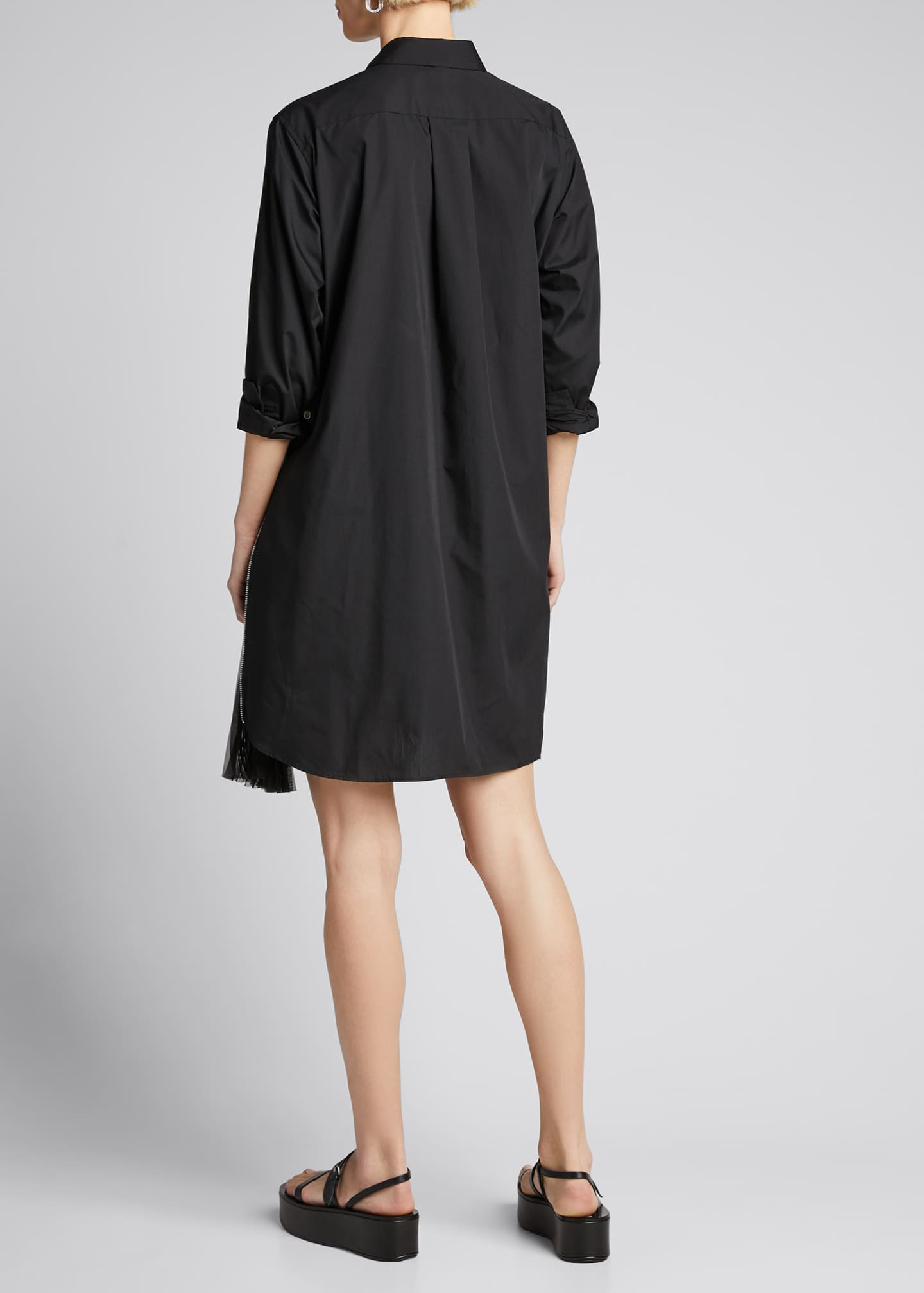 Image 2 of 5: Pleated-Side Long Button-Front Shirtdress