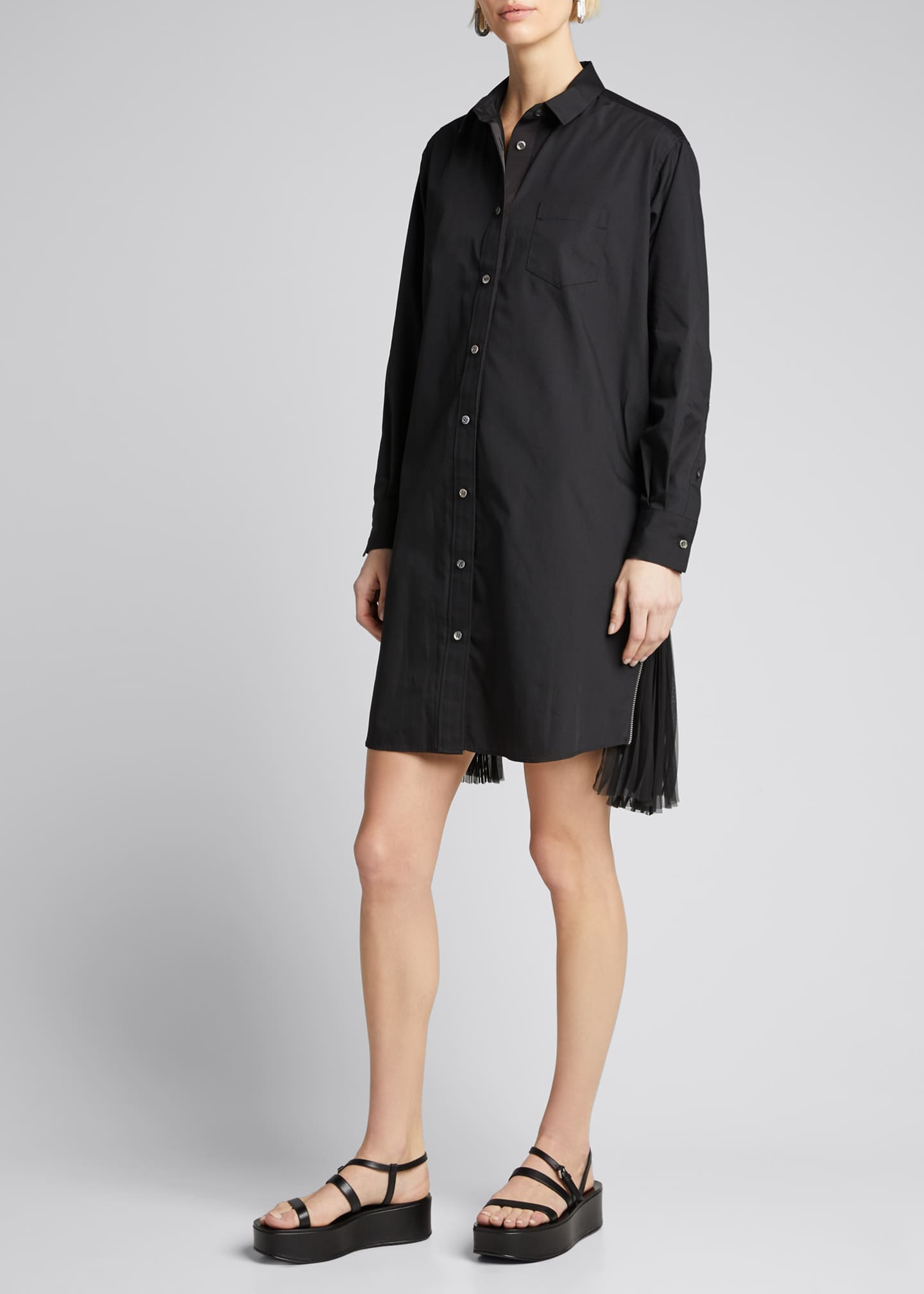 Image 3 of 5: Pleated-Side Long Button-Front Shirtdress