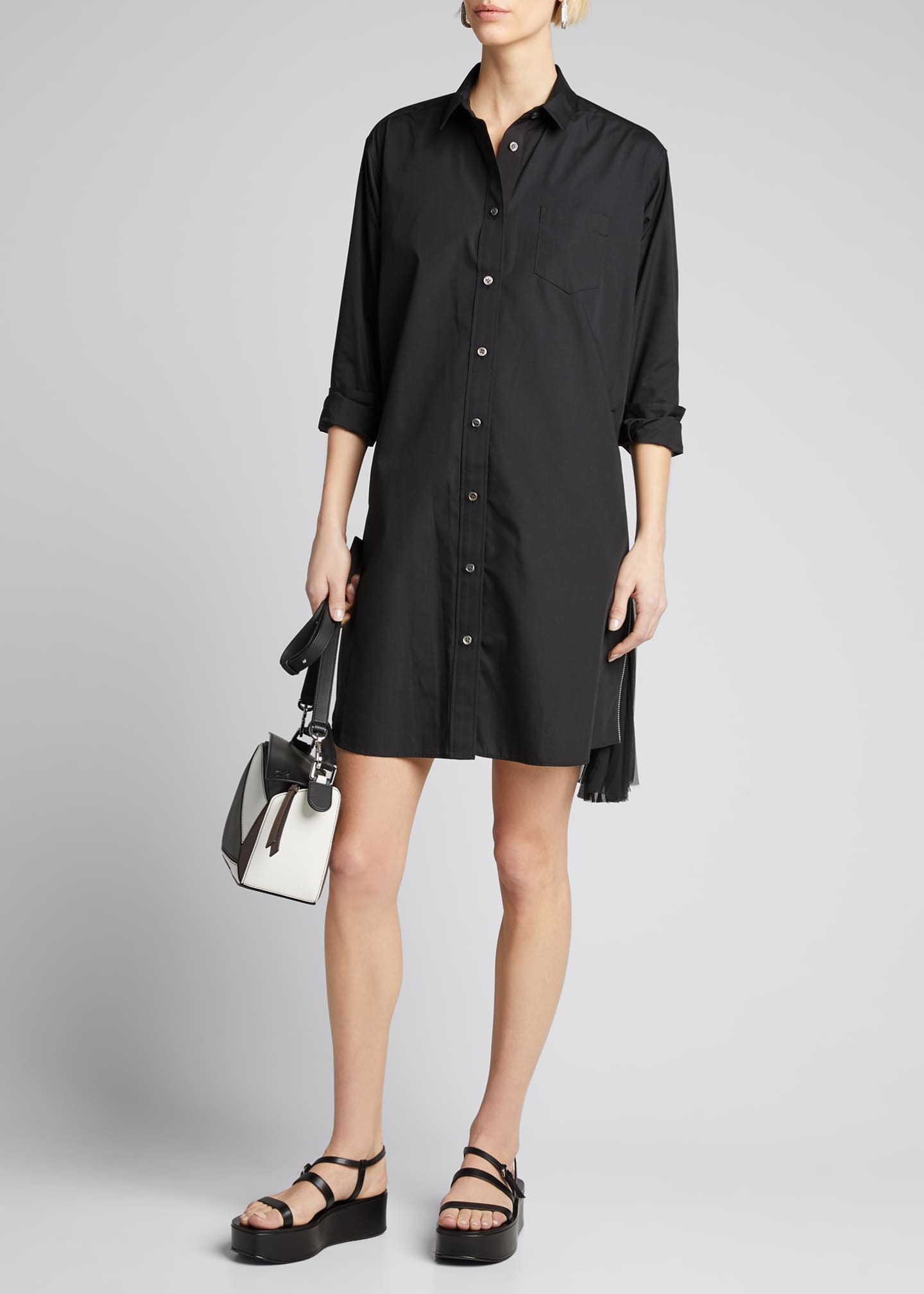 Image 1 of 5: Pleated-Side Long Button-Front Shirtdress