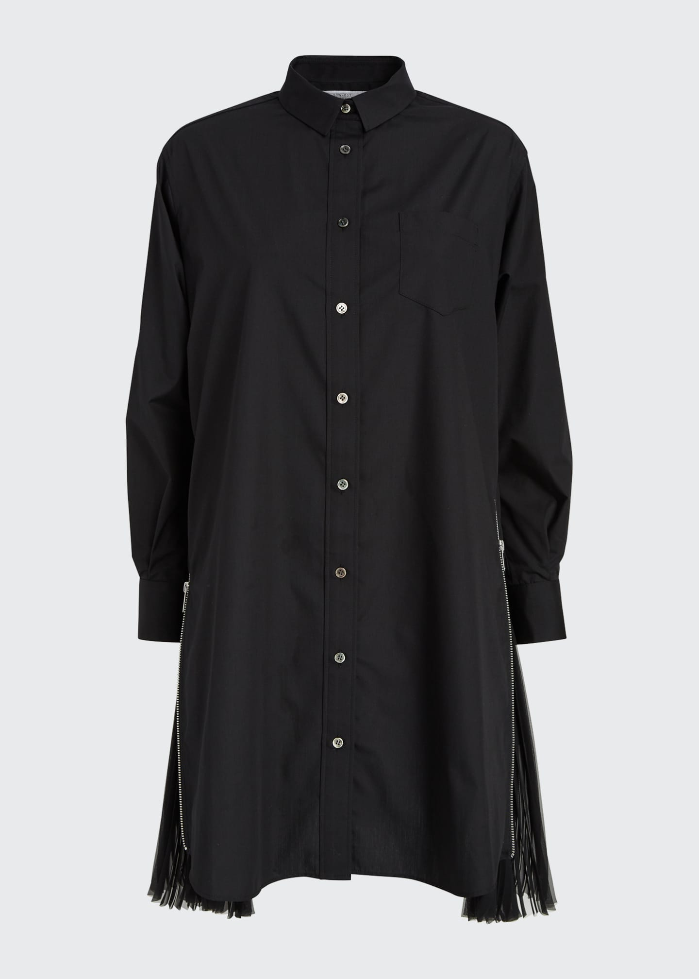 Image 5 of 5: Pleated-Side Long Button-Front Shirtdress