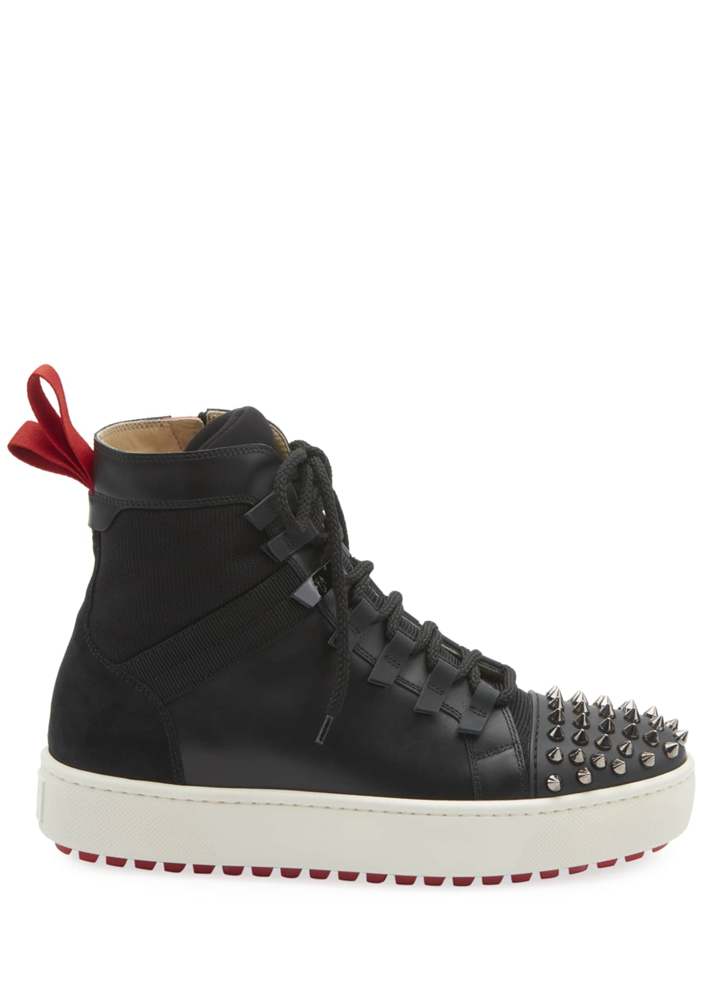 Image 2 of 2: Men's Spike Leather Red Sole Trainer Sneakers