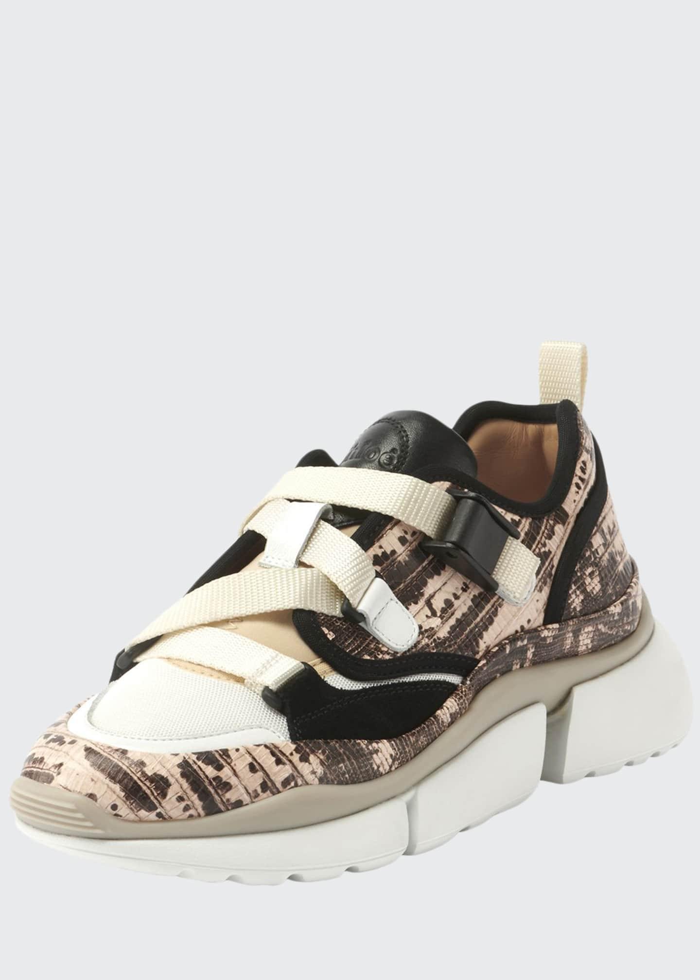 Chloe Sonnie Embossed Leather Buckle Sneakers