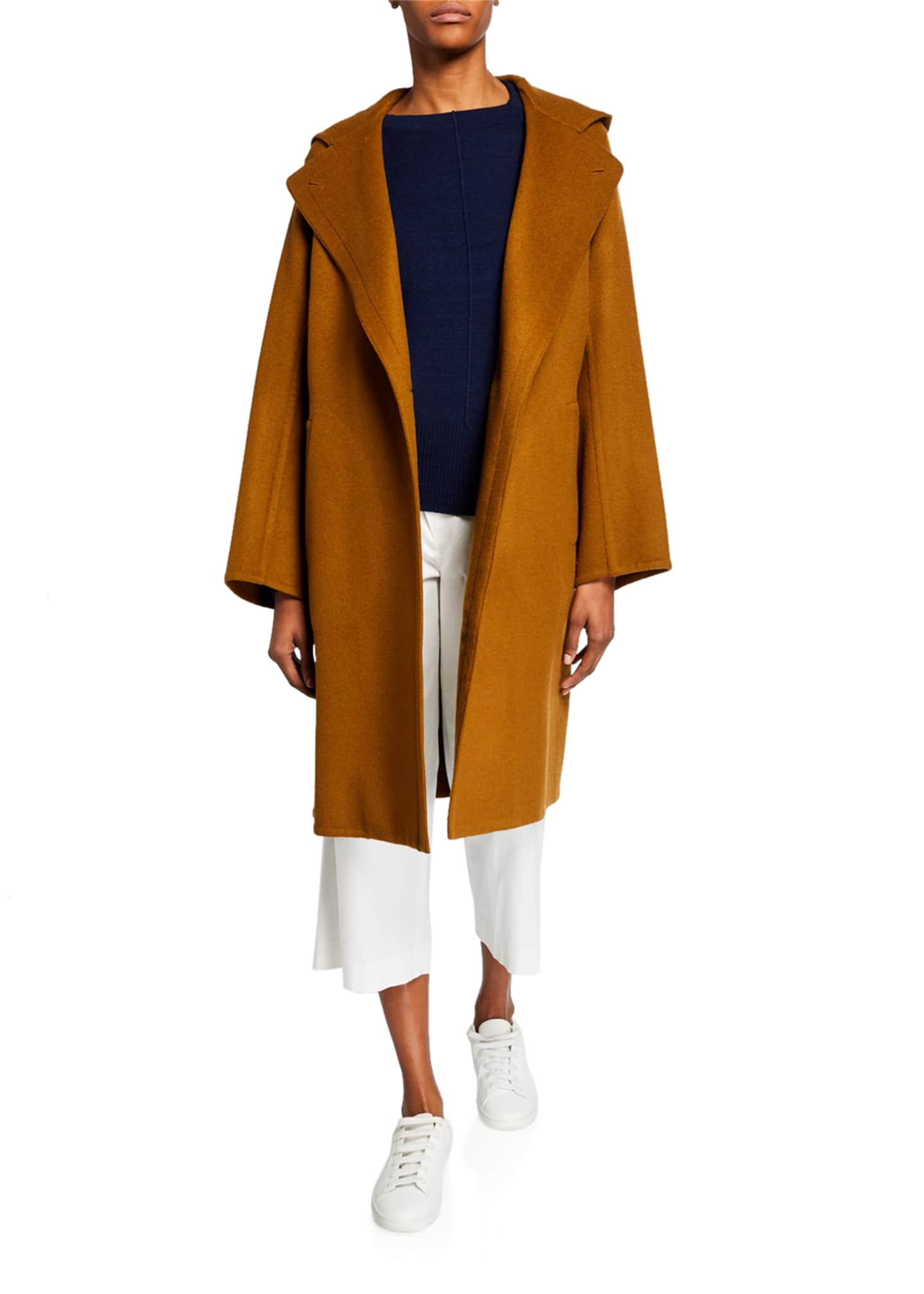 Image 2 of 3: One-Button Hooded Wool Coat