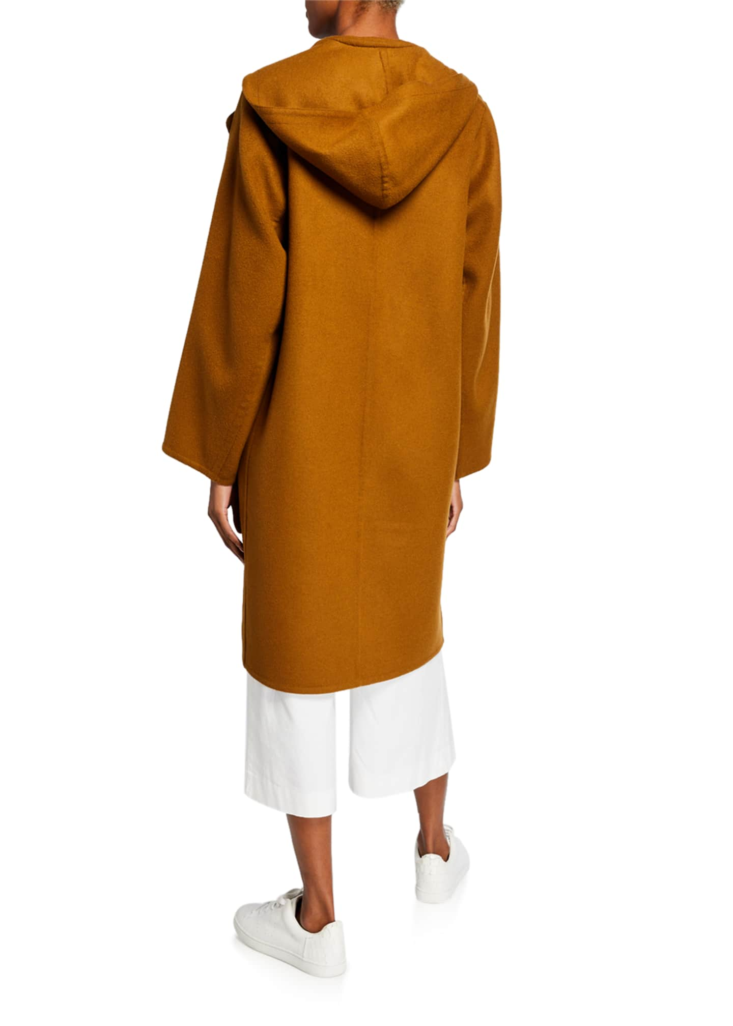 Image 3 of 3: One-Button Hooded Wool Coat