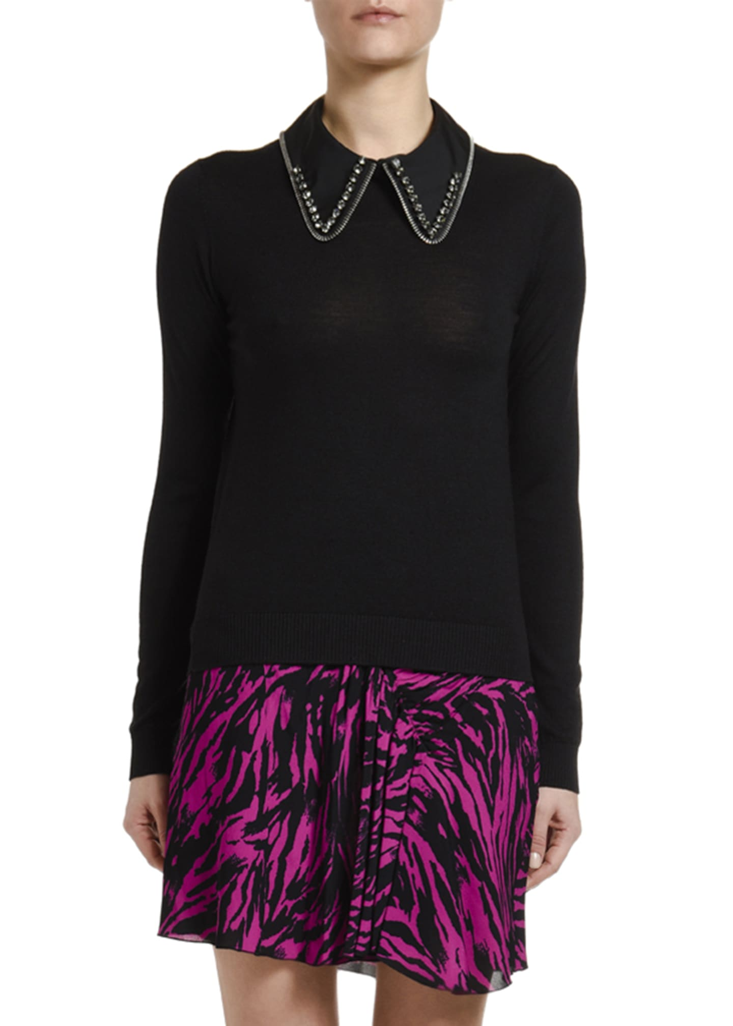 No. 21 Wool-Silk Long-Sleeve Top with Embellished Collar