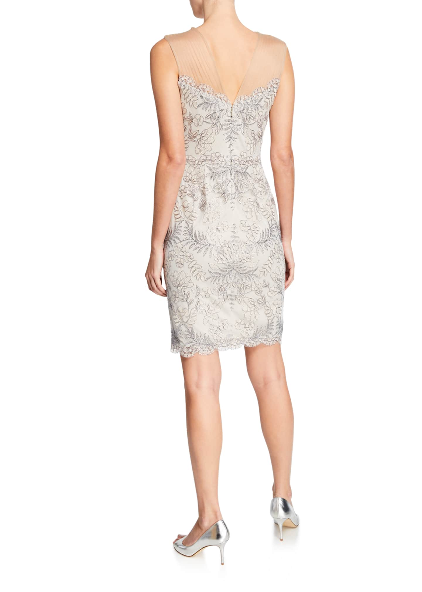 Image 2 of 2: Sleeveless Embellished Corded Lace Cocktail Dress