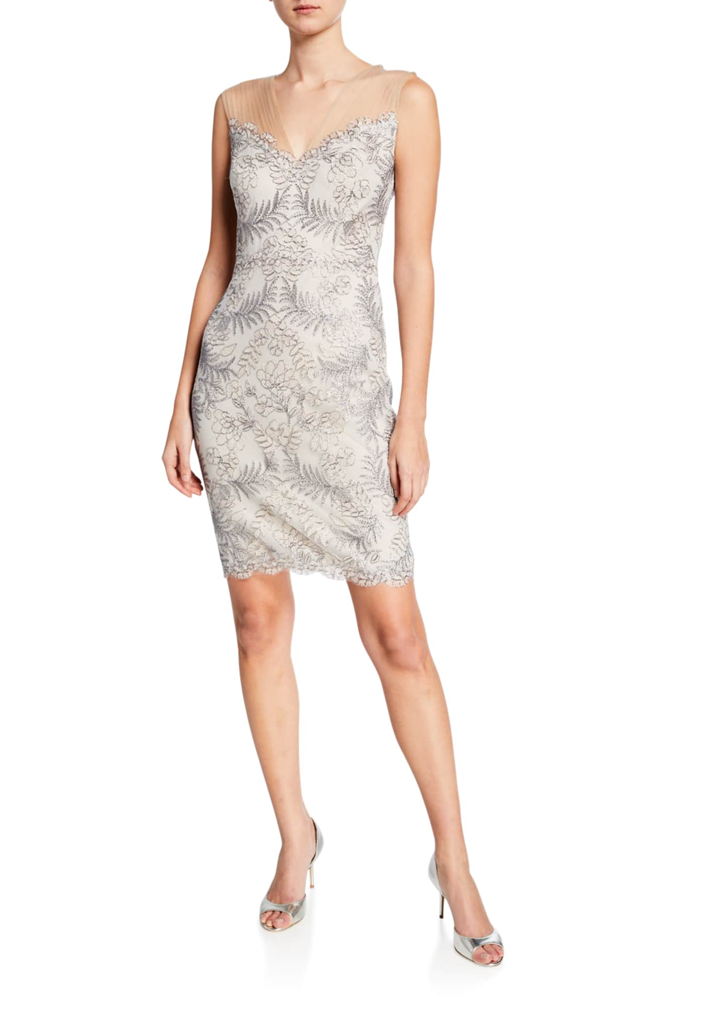 Image 1 of 2: Sleeveless Embellished Corded Lace Cocktail Dress