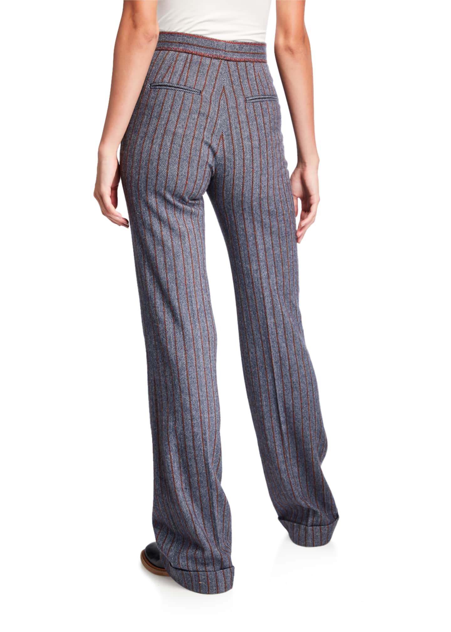 Image 2 of 3: Shipton Herringbone Stretch Wool-Cashmere Trousers