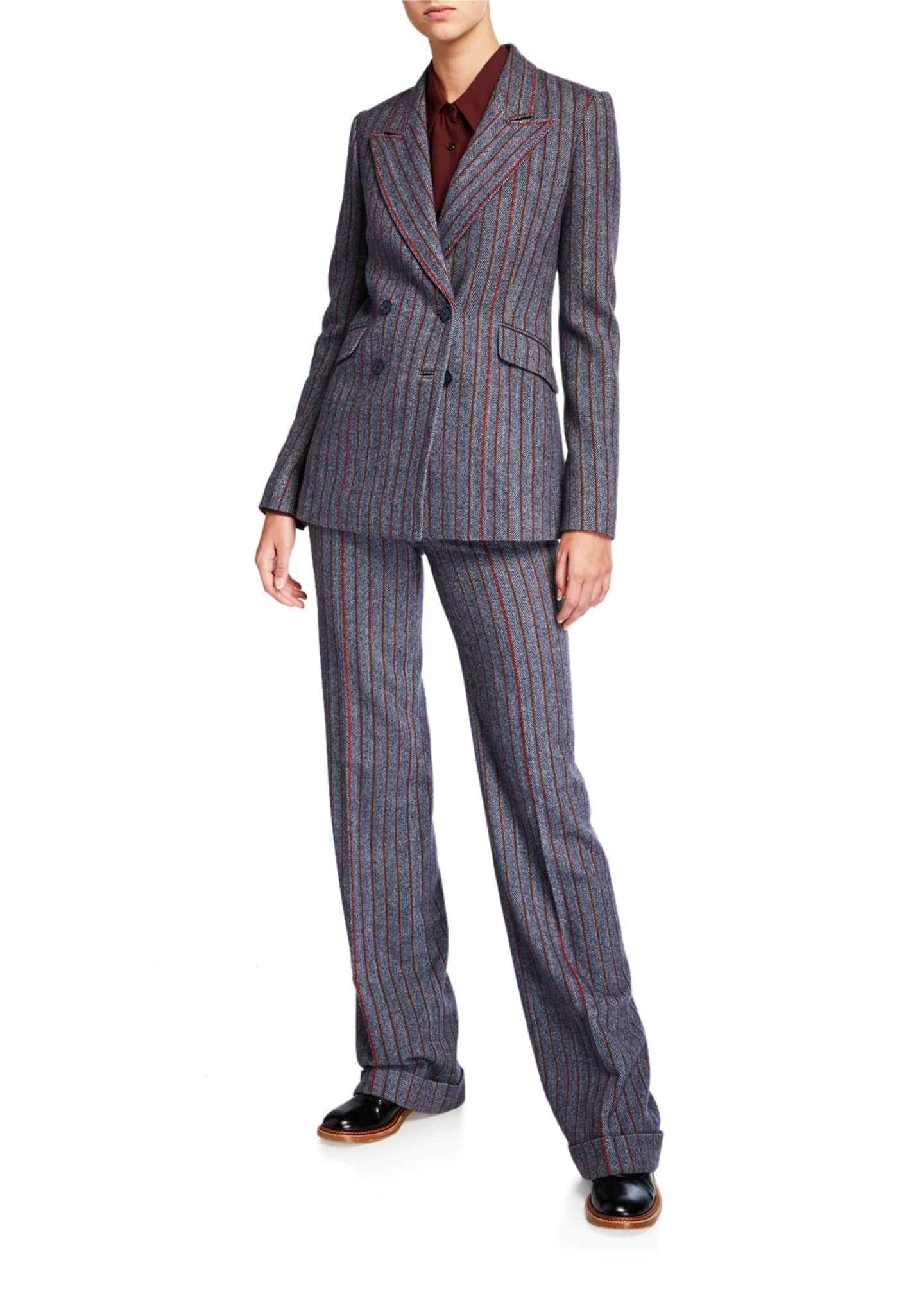 Image 3 of 3: Shipton Herringbone Stretch Wool-Cashmere Trousers