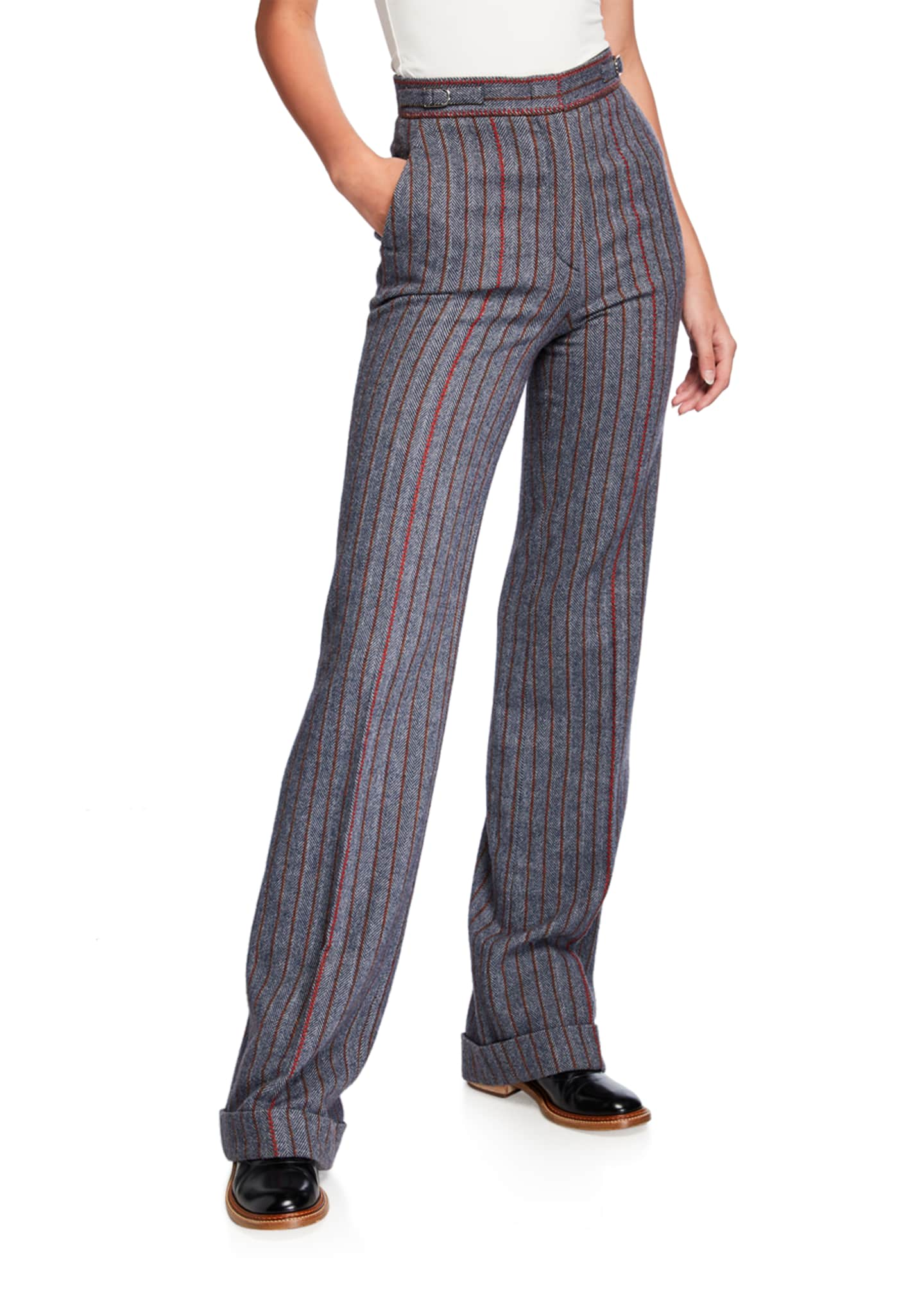 Image 1 of 3: Shipton Herringbone Stretch Wool-Cashmere Trousers