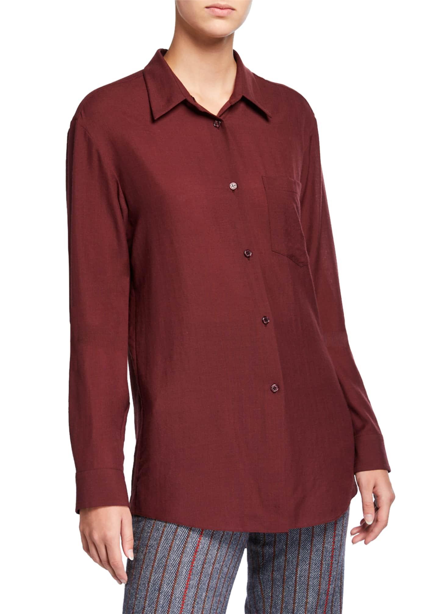Gabriela Hearst Reyes Wool-Cashmere Button-Front Shirt