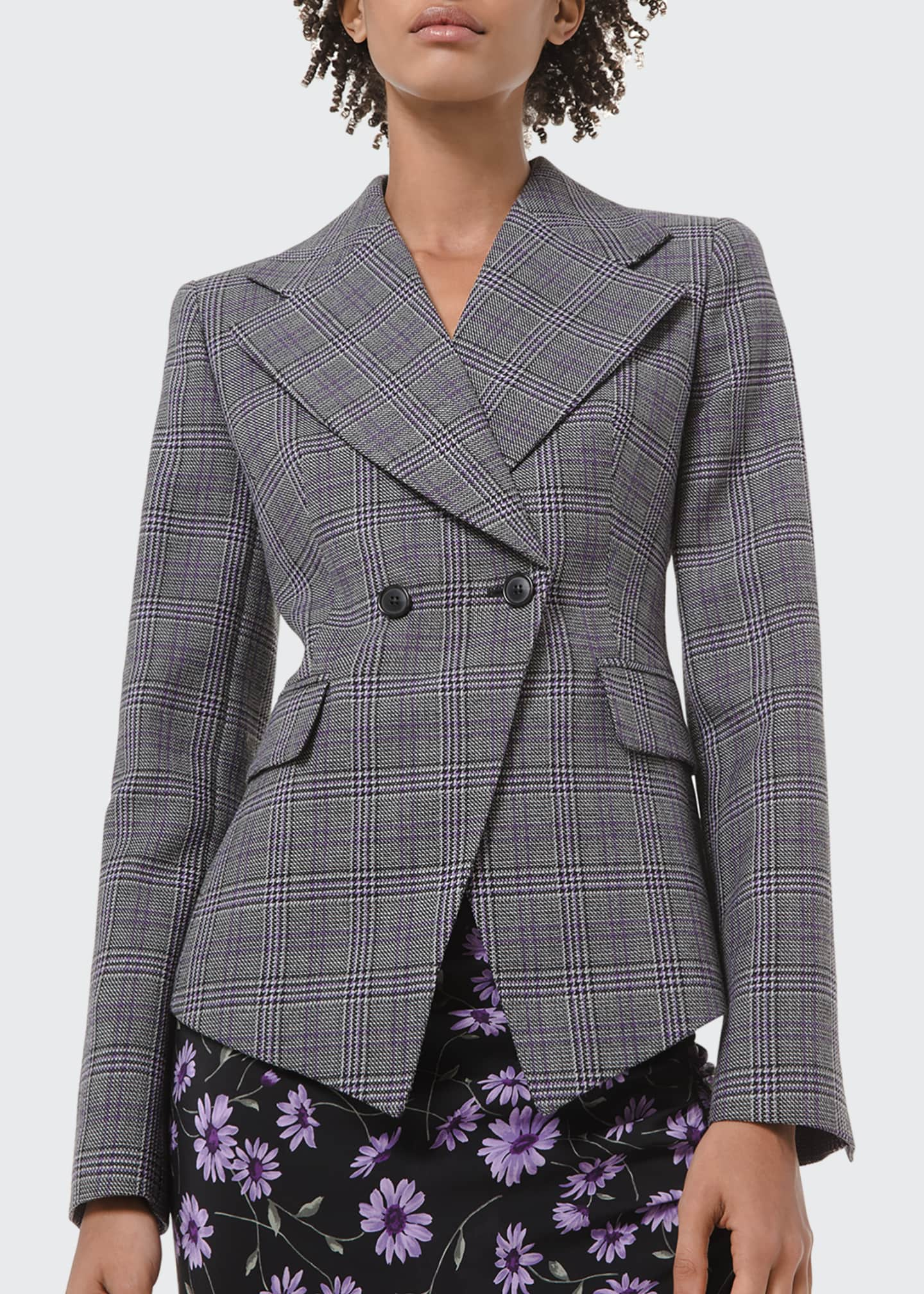 Image 1 of 2: Glen Plaid Pressed Wool Double-Breasted Blazer