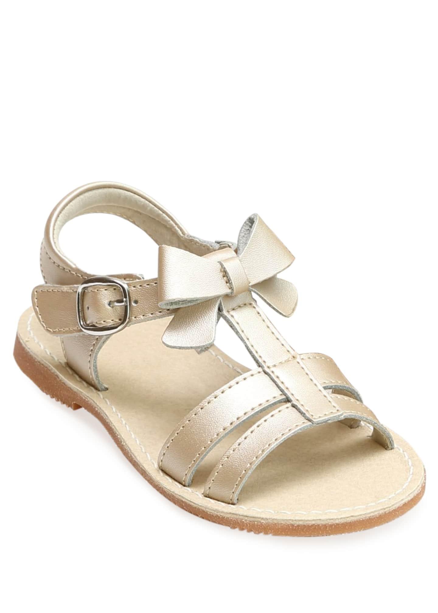 L'Amour Shoes Janie Leather T-Strap Bow Sandal, Kids