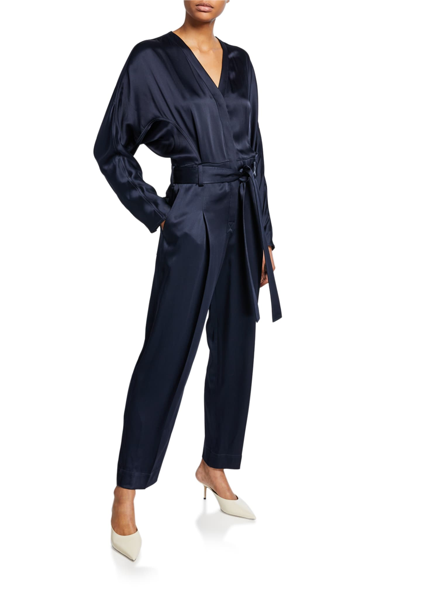 3.1 Phillip Lim Satin Menswear Belted Jumpsuit