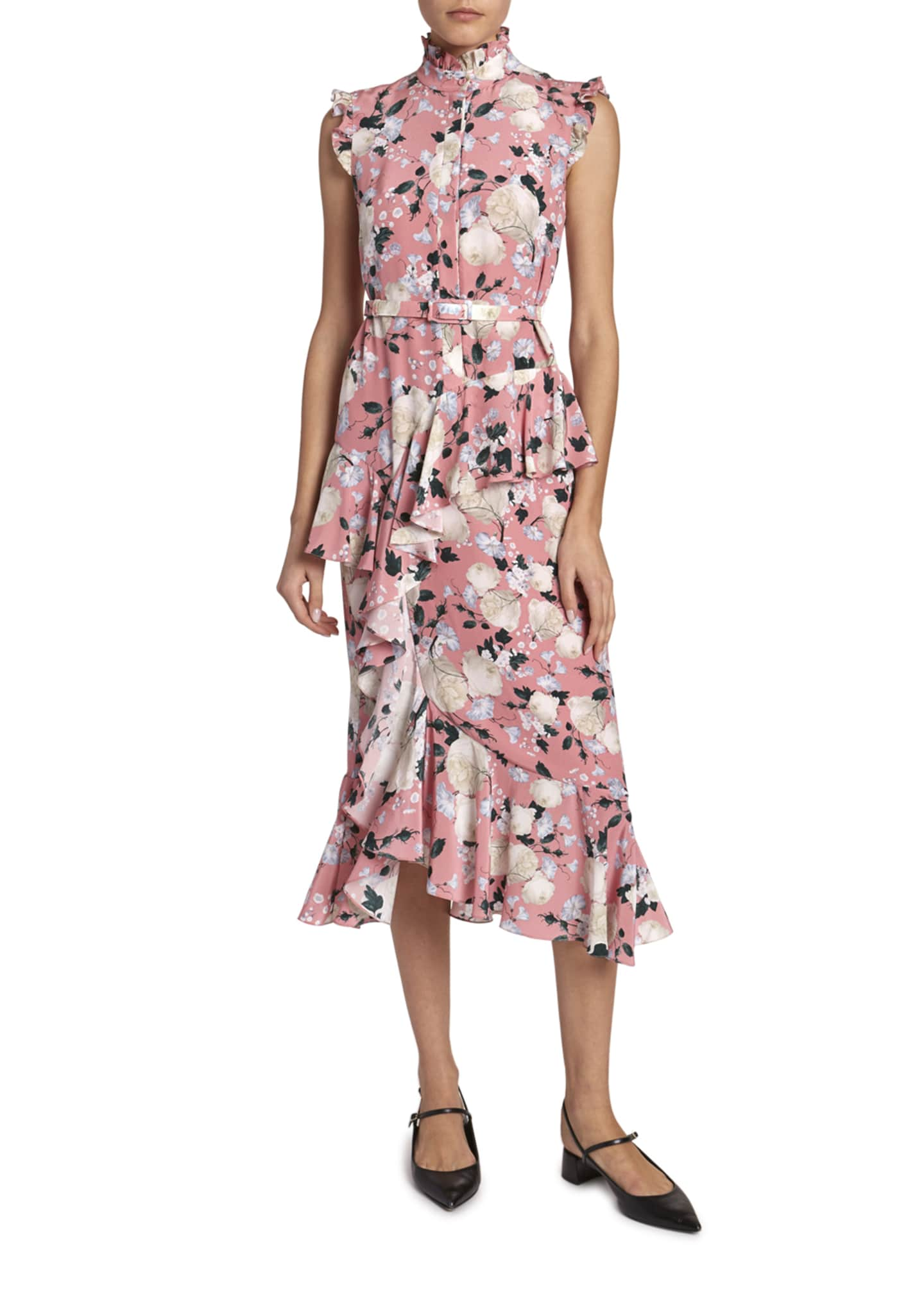 Erdem Irina Ruffled Floral Cap-Sleeve Dress