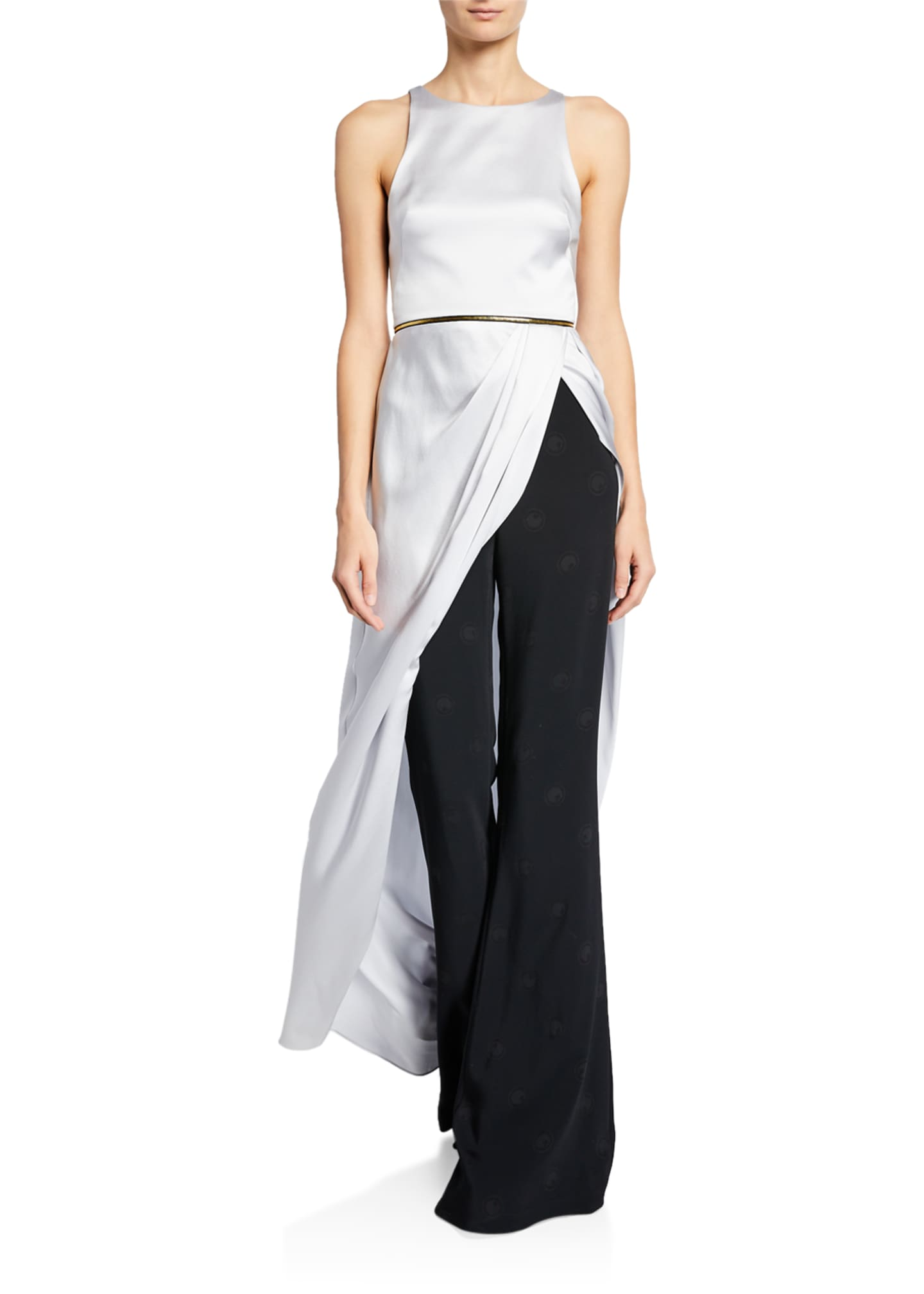 Brandon Maxwell Charmeuse Sleeveless Long Statement Top