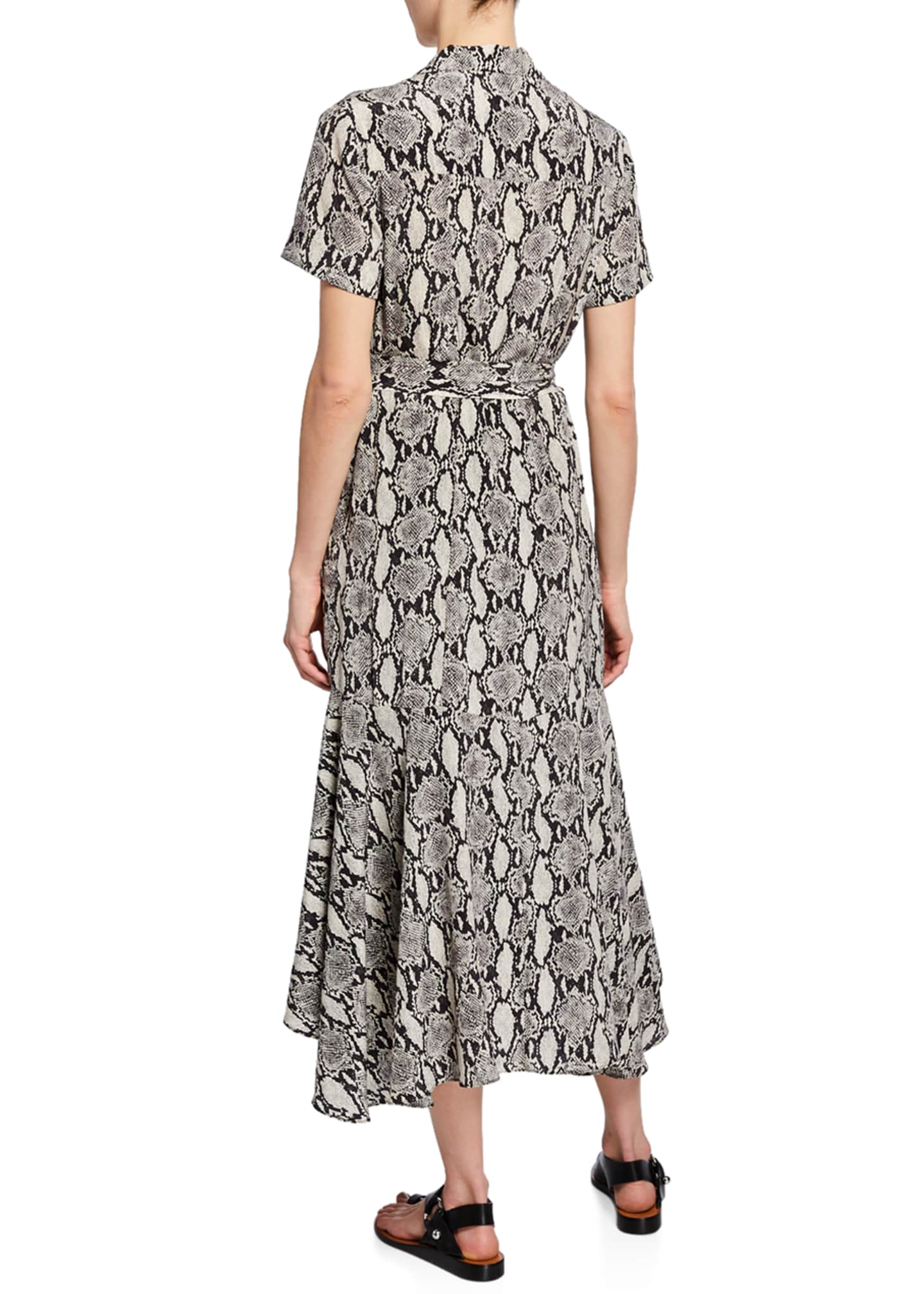 Image 2 of 2: Clarkson Snake-Print Midi Shirt Dress