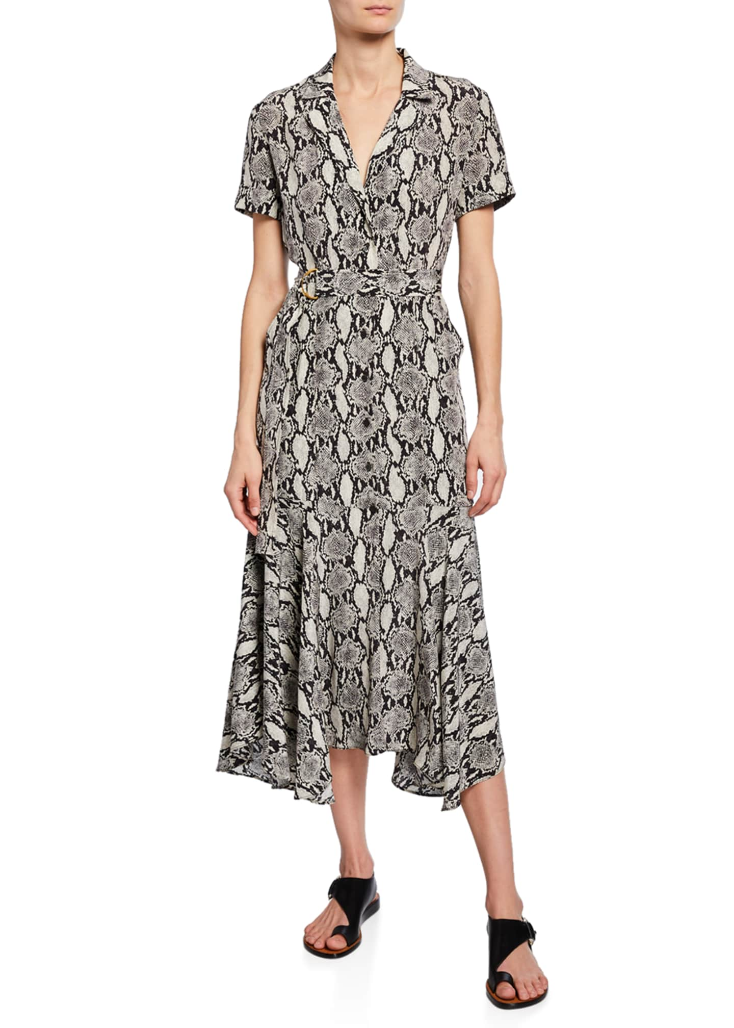 Image 1 of 2: Clarkson Snake-Print Midi Shirt Dress