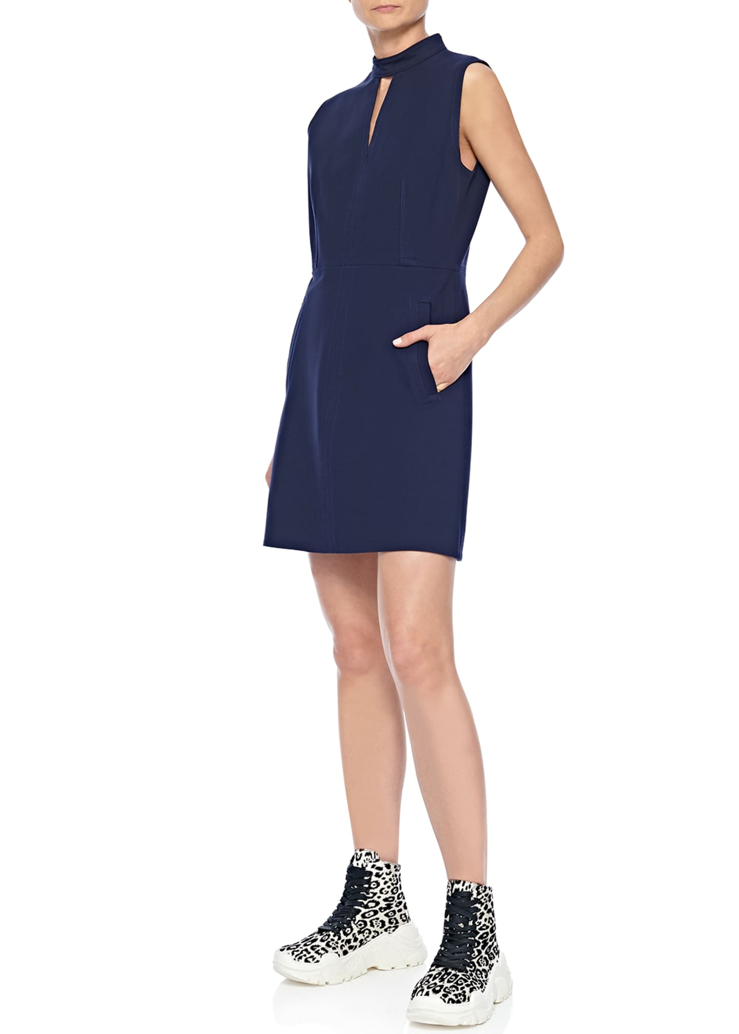 Image 1 of 2: Mock-Neck Sleeveless A-Line Mini Dress with Pockets