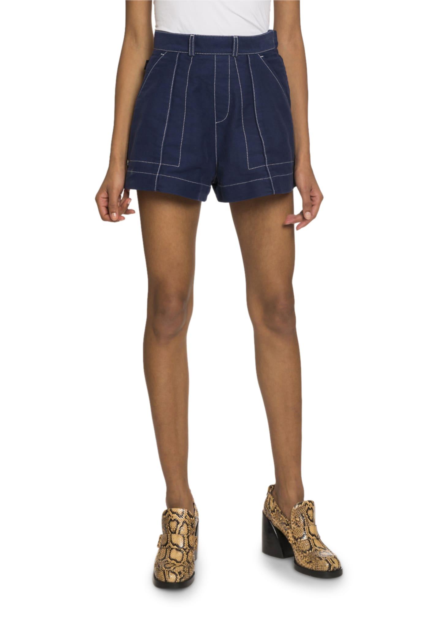 Chloe Topstitched Denim Shorts