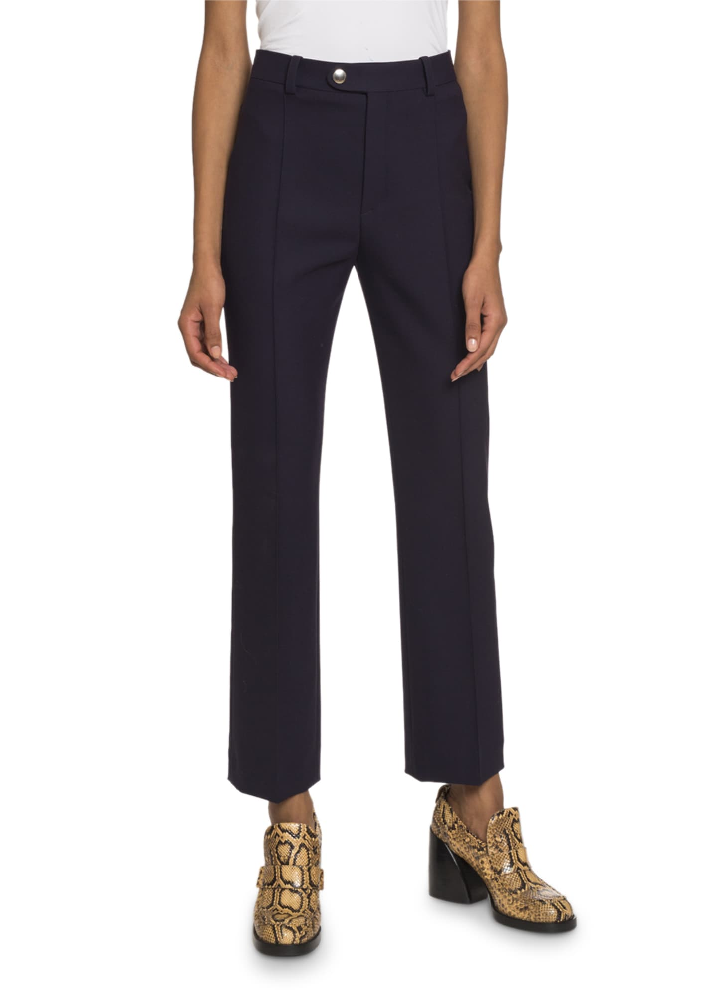 Chloe Cropped Tab-Waist Crop Pants