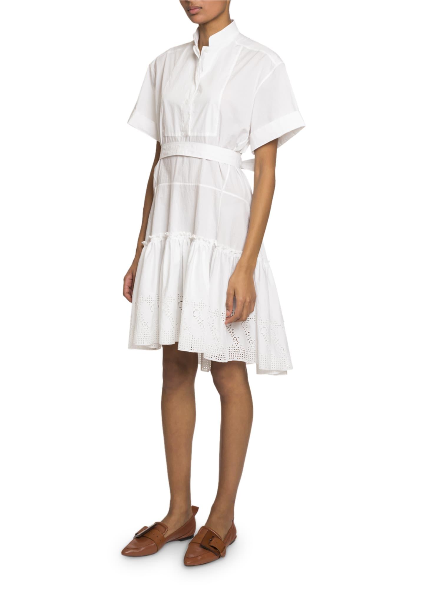 Chloe High-Neck Eyelet Hem Dress