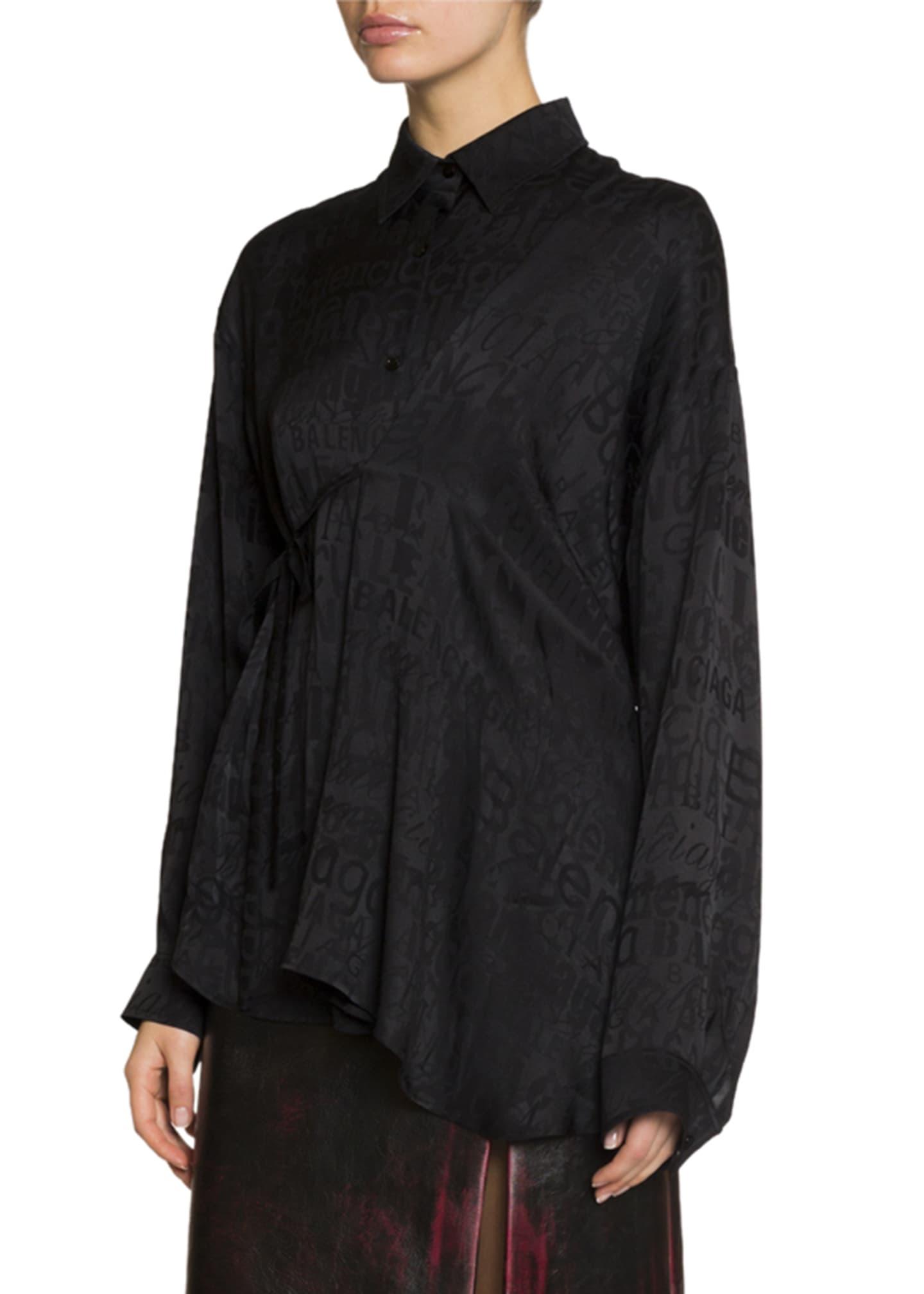 Balenciaga Jacquard Fluid Silk Button-Front Asymmetric Top