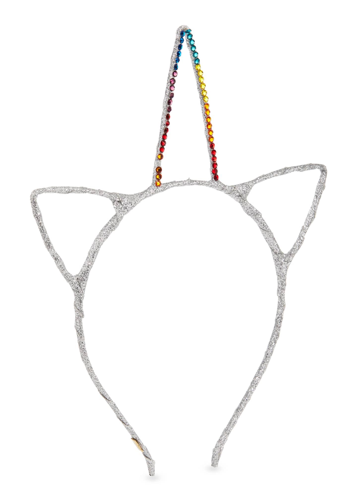 Bari Lynn Girls' Glitter Cat Ears & Crystal