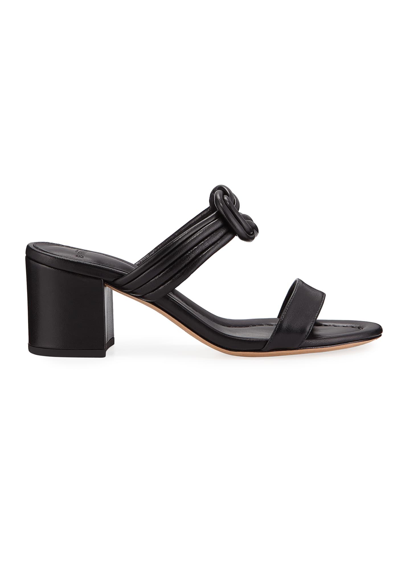 Alexandre Birman Vicky Knotted Leather Block-Heel Sandals