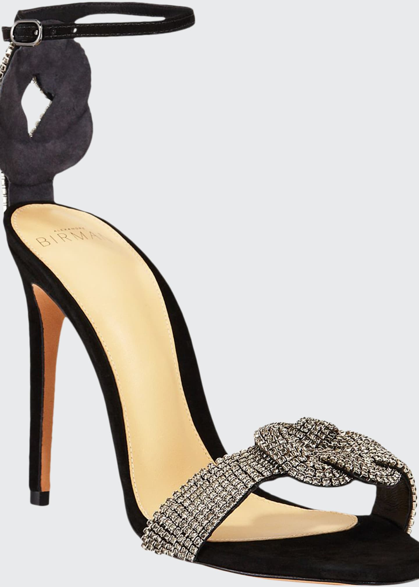 Alexandre Birman Vicky Crystal Suede Ankle-Strap Sandals