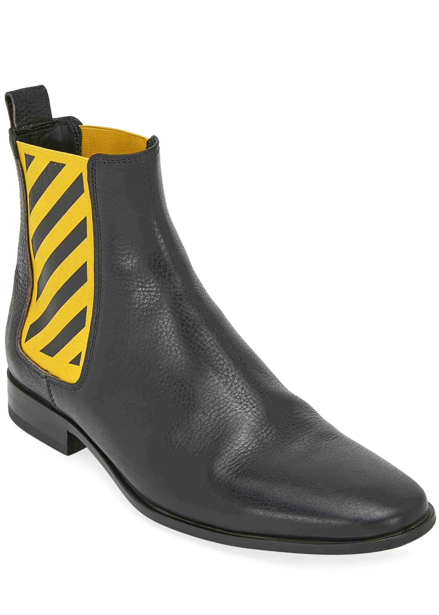 Off-White Men's Striped-Gore Leather Chelsea Boot