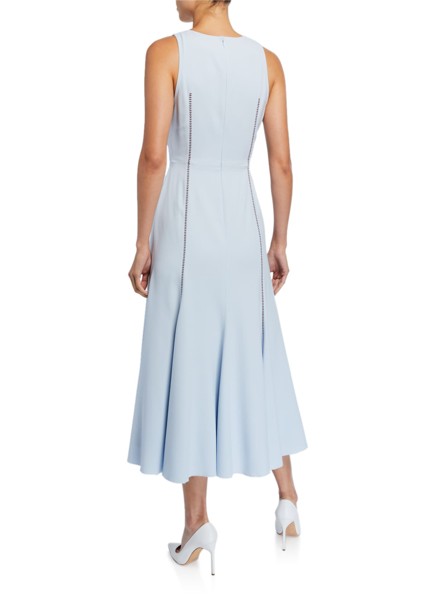 Image 2 of 2: Annabelle Contrast-Stitched Sleeveless Silk Crepe Dress