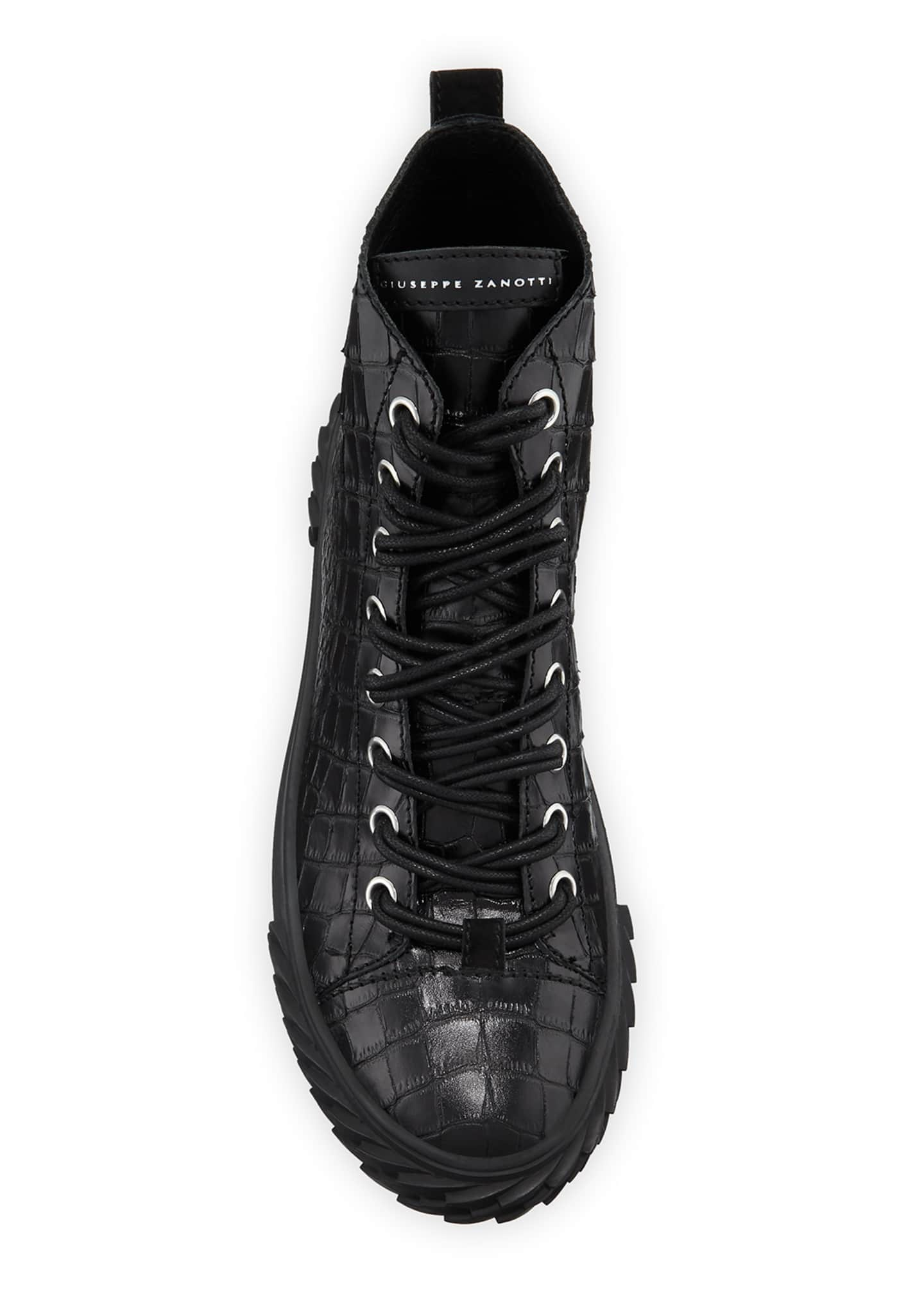 Image 2 of 3: Men's Blabber Croc-Embossed High-Top Sneakers