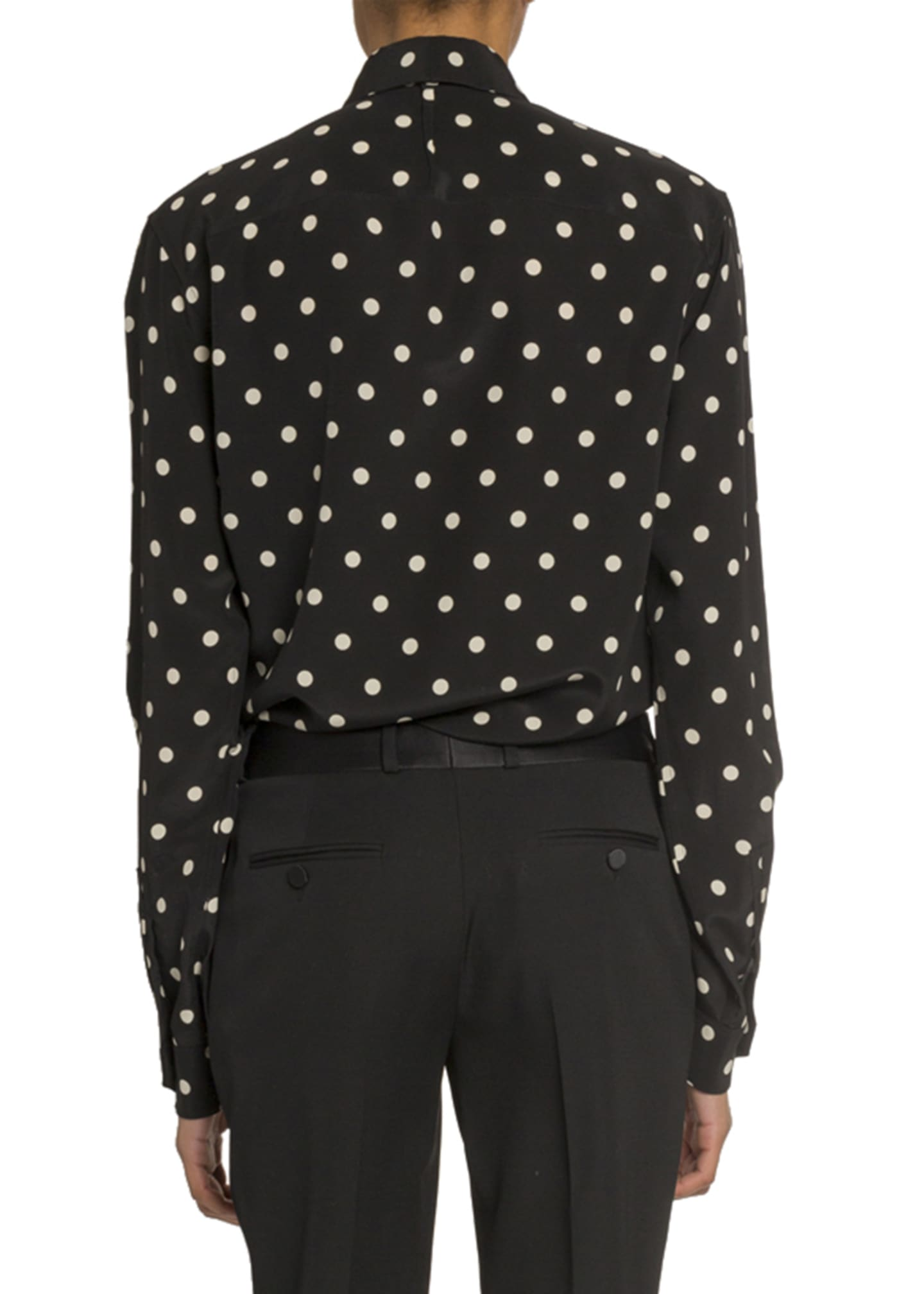 Image 2 of 3: Polka Dot Long-Sleeve Button Front Blouse