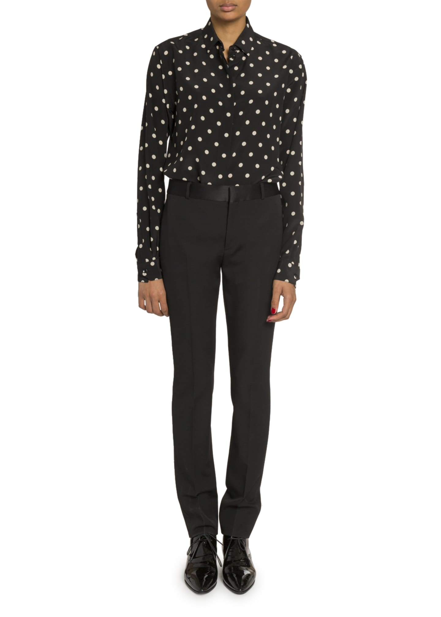 Image 3 of 3: Polka Dot Long-Sleeve Button Front Blouse
