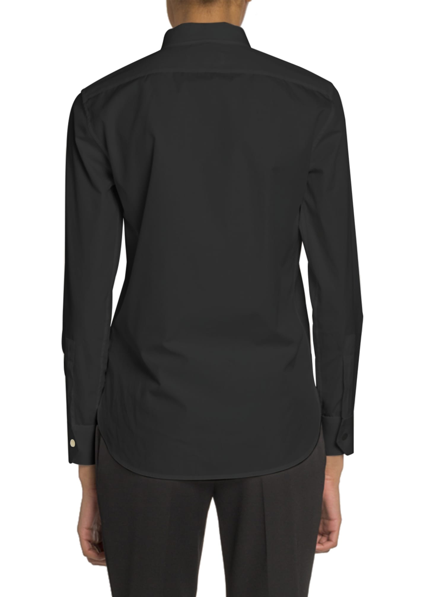 Image 2 of 2: Mandarin Collar Button-Front Poplin Blouse